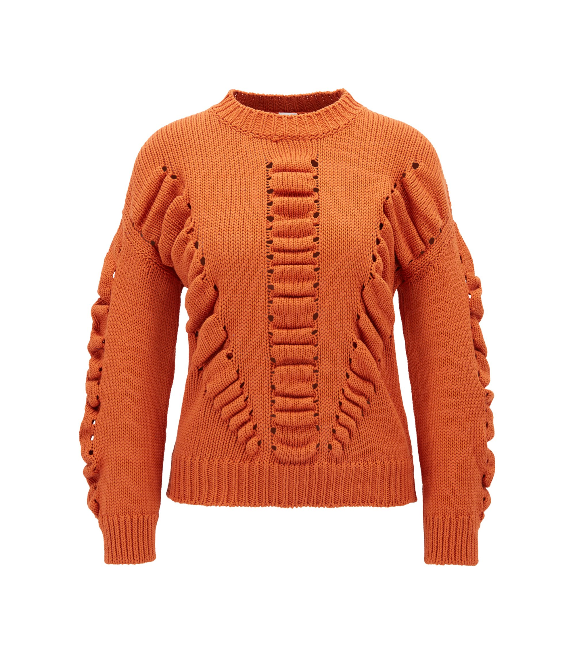 Pure-cotton sweater with three-dimensional structure, Orange