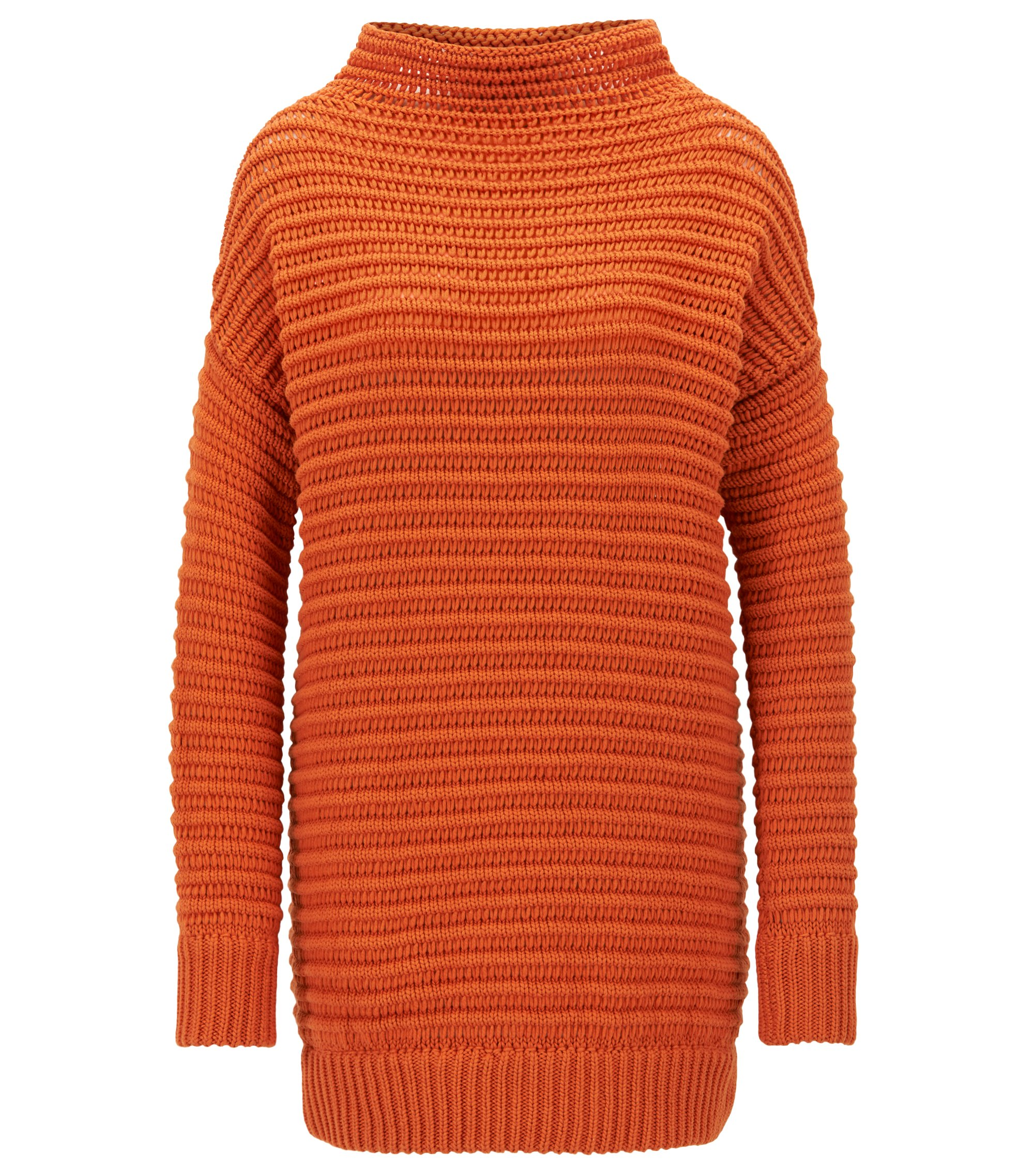 Oversized cotton sweater with three-dimensional structure, Orange