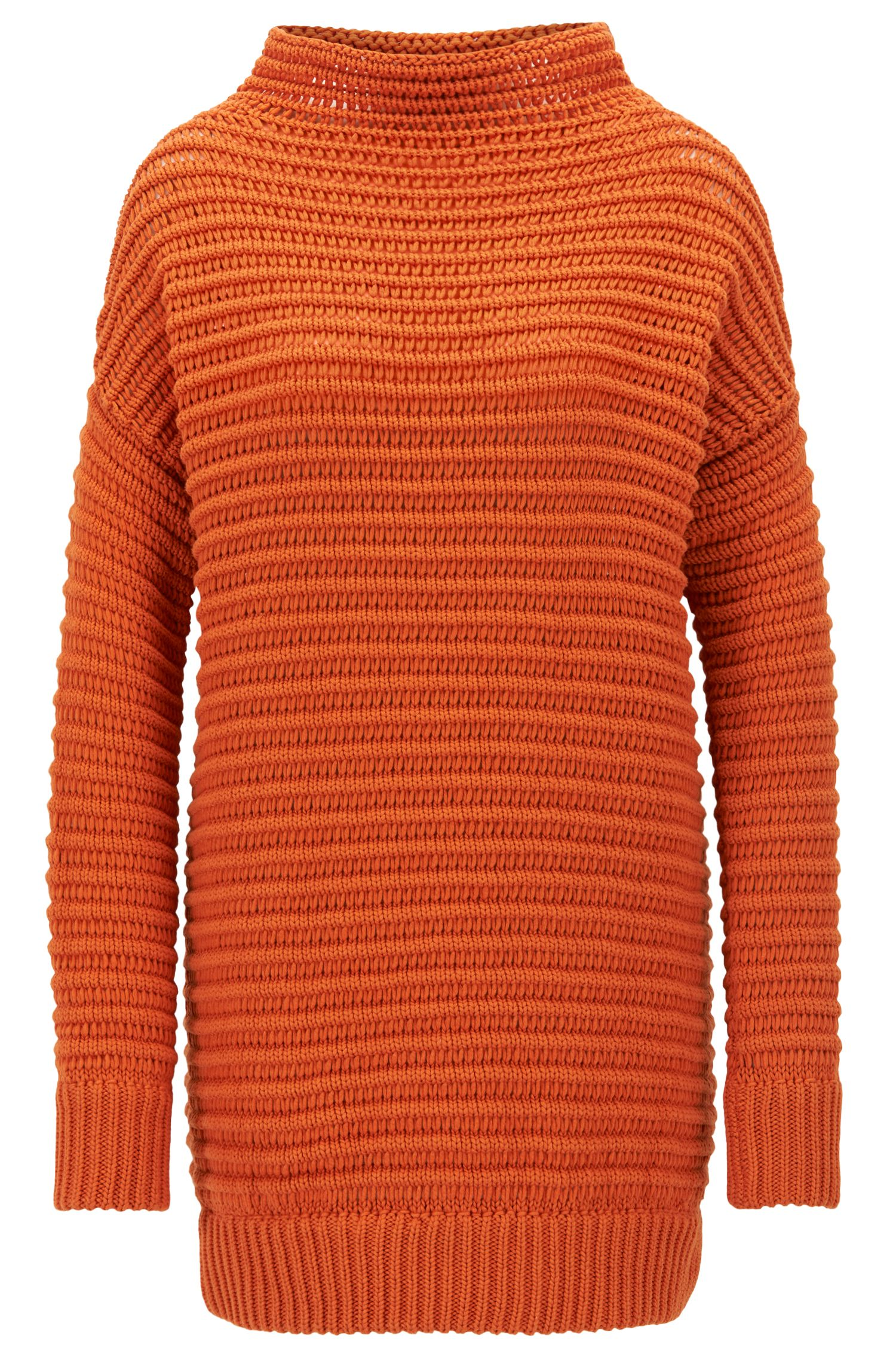 Oversized cotton sweater with three-dimensional structure