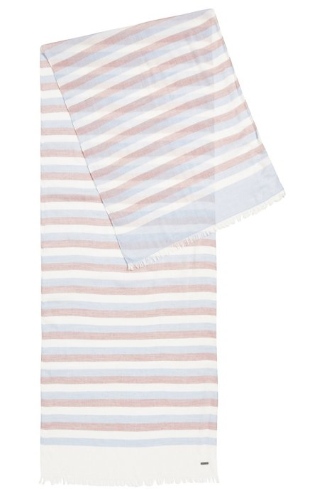Colourful striped scarf in lightweight fabric, Light Blue