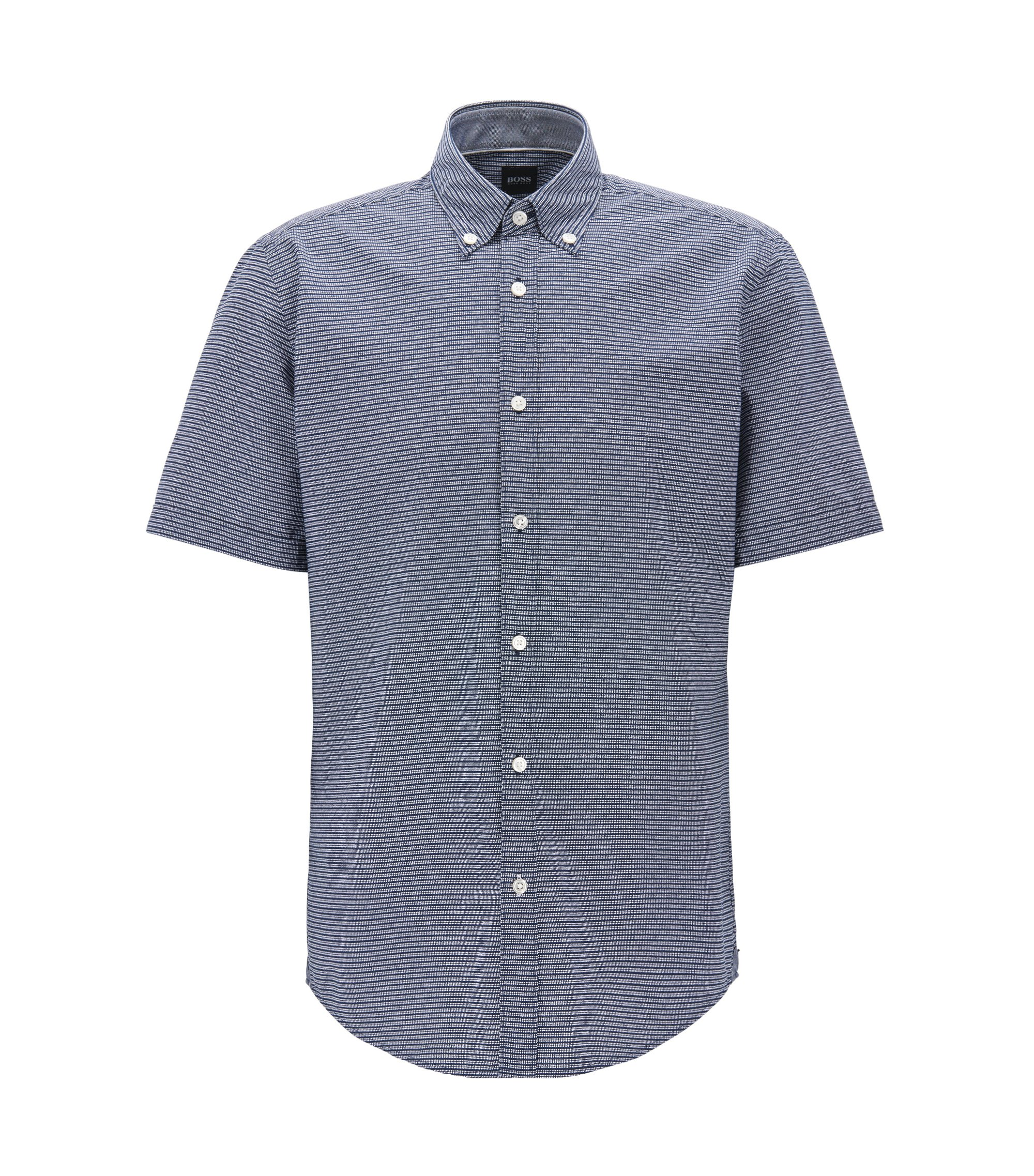 Camisa de algodón mercerizado regular fit con estampado exclusivo, Azul oscuro