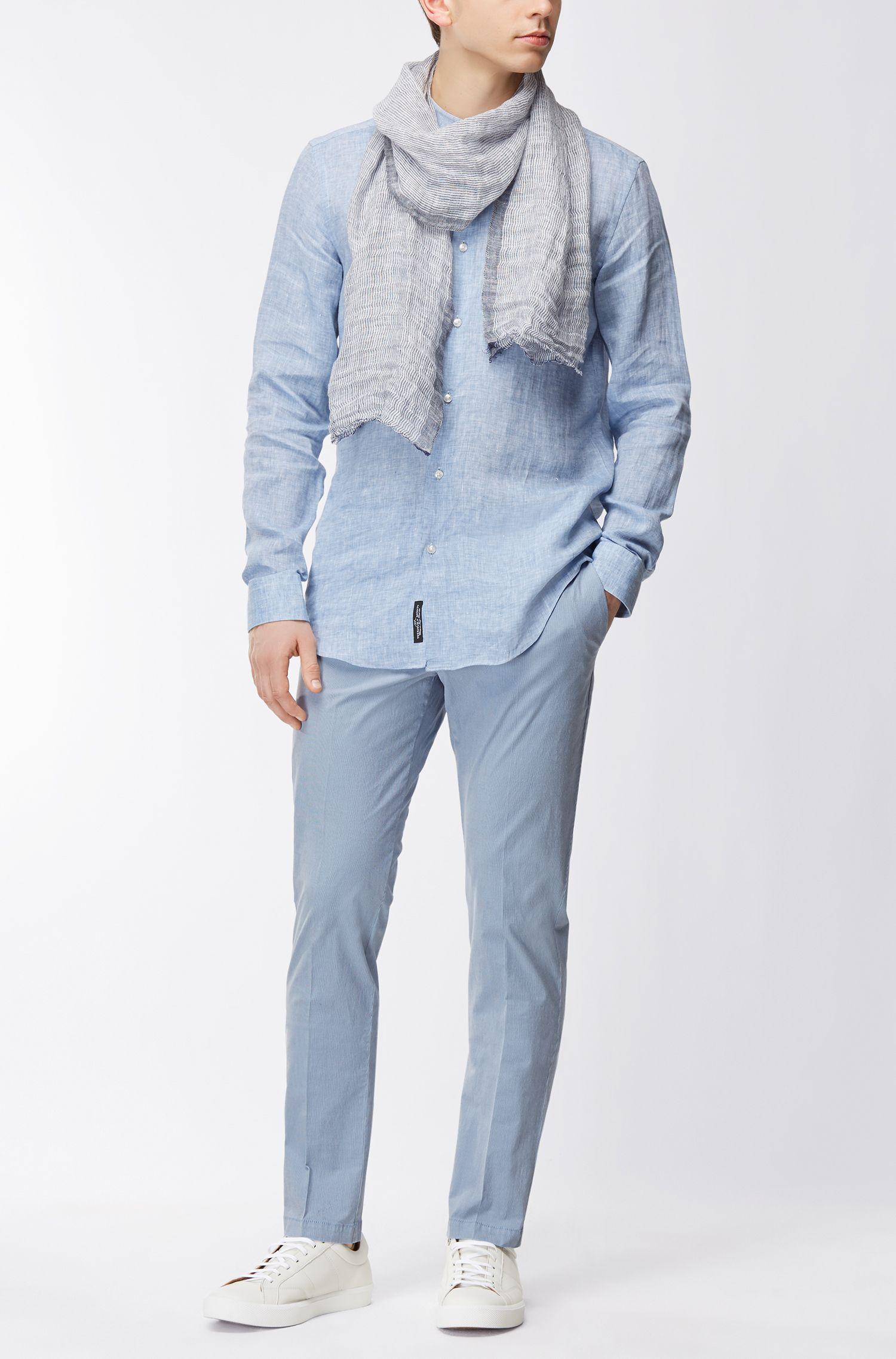 Linen scarf with irregular stripe pattern