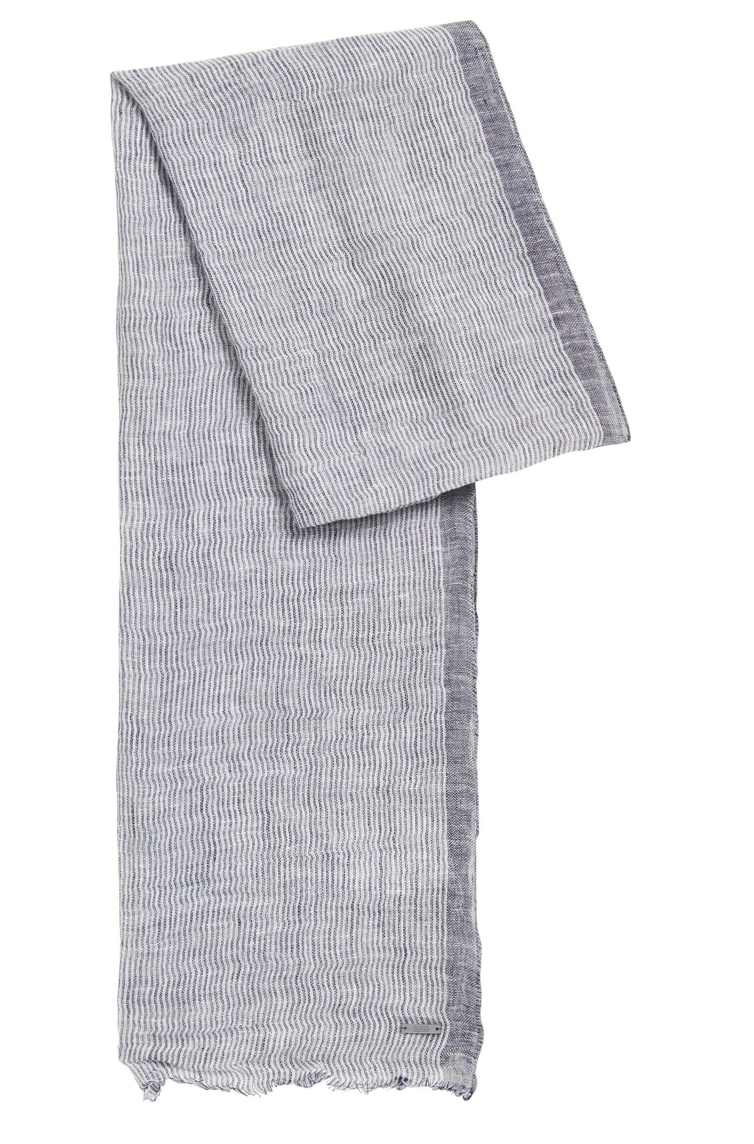 Sjaal van linnen met onregelmatig streepdessin