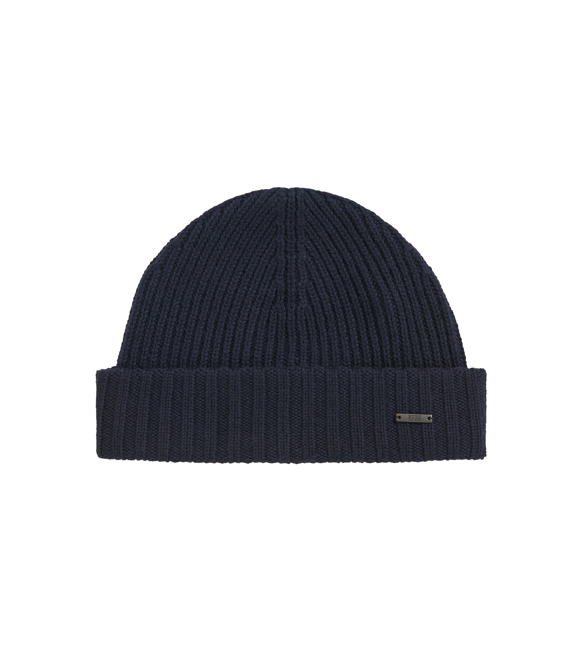 Ribbed beanie hat in virgin wool, Dark Blue