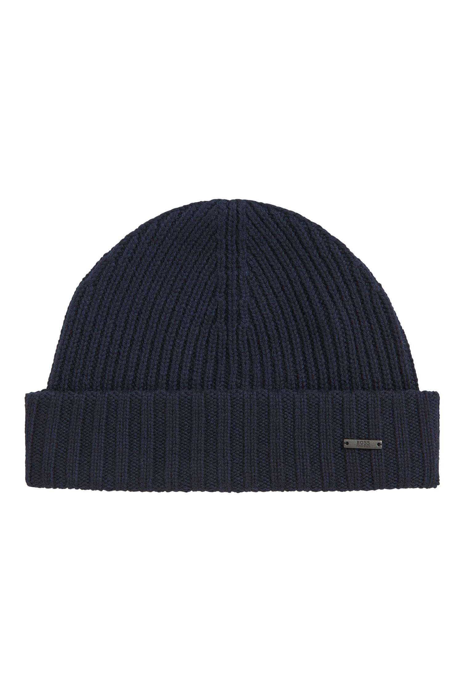 Ribbed beanie hat in virgin wool
