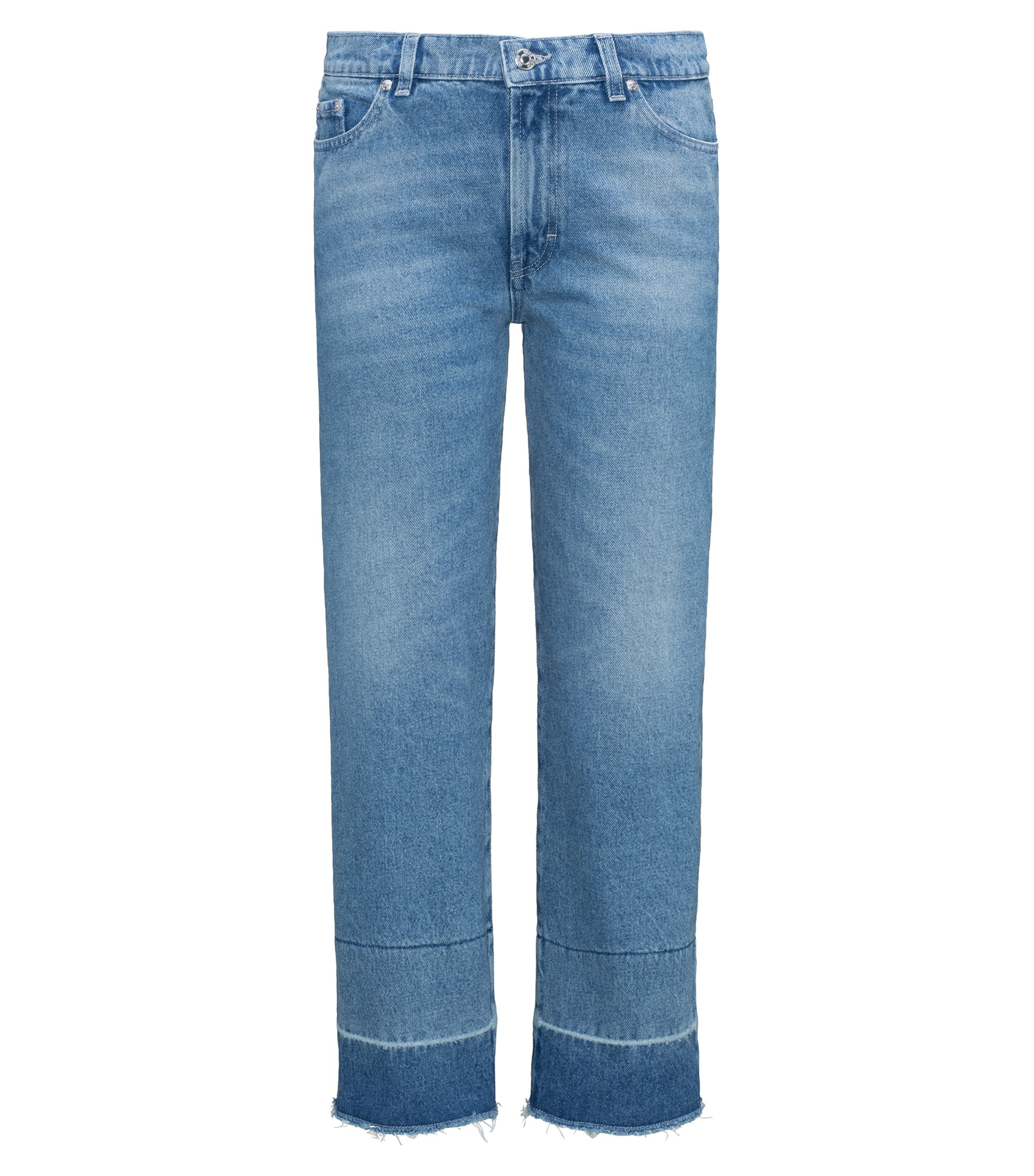 Jeans slim fit alla caviglia in denim stonewashed, Celeste