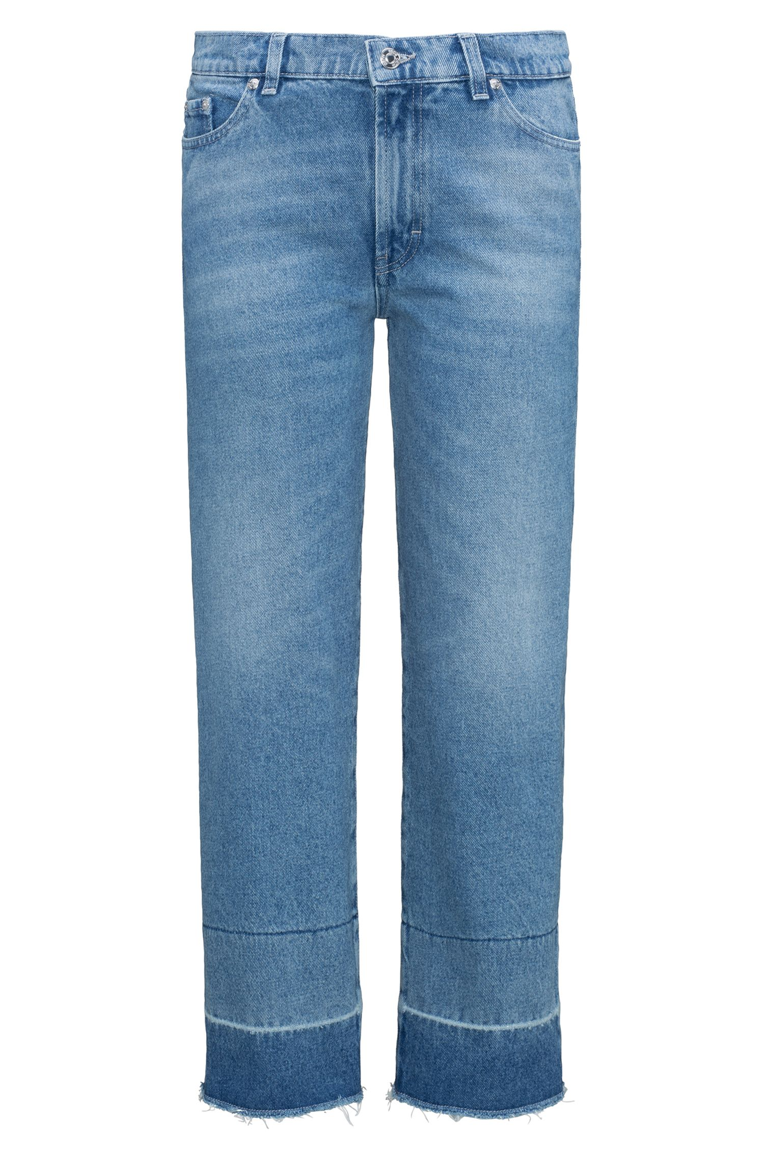 Kortere, slim-fit jeans van stonewashed denim