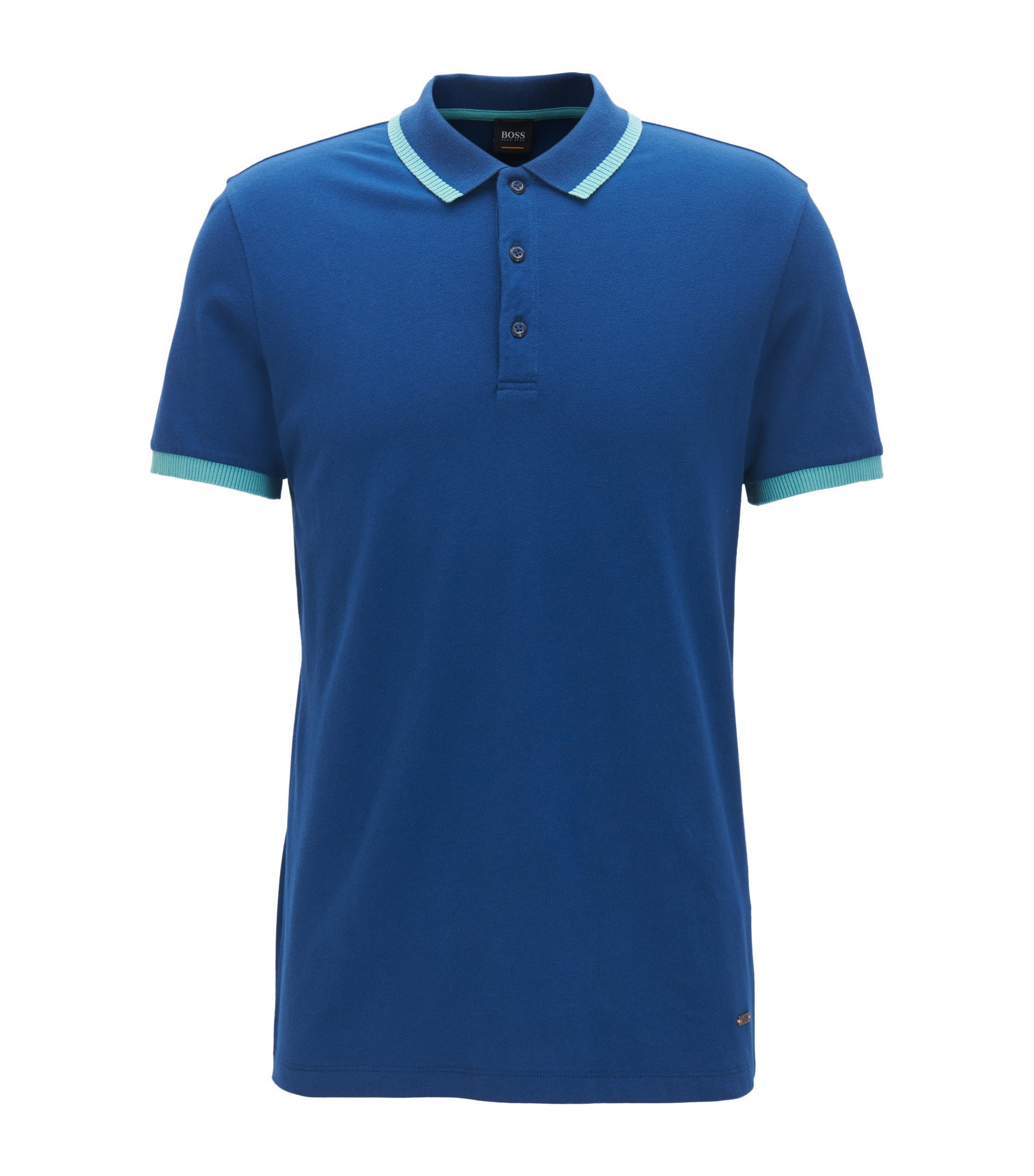 Relaxed-fit polo shirt in stretch cotton piqué, Dark Blue