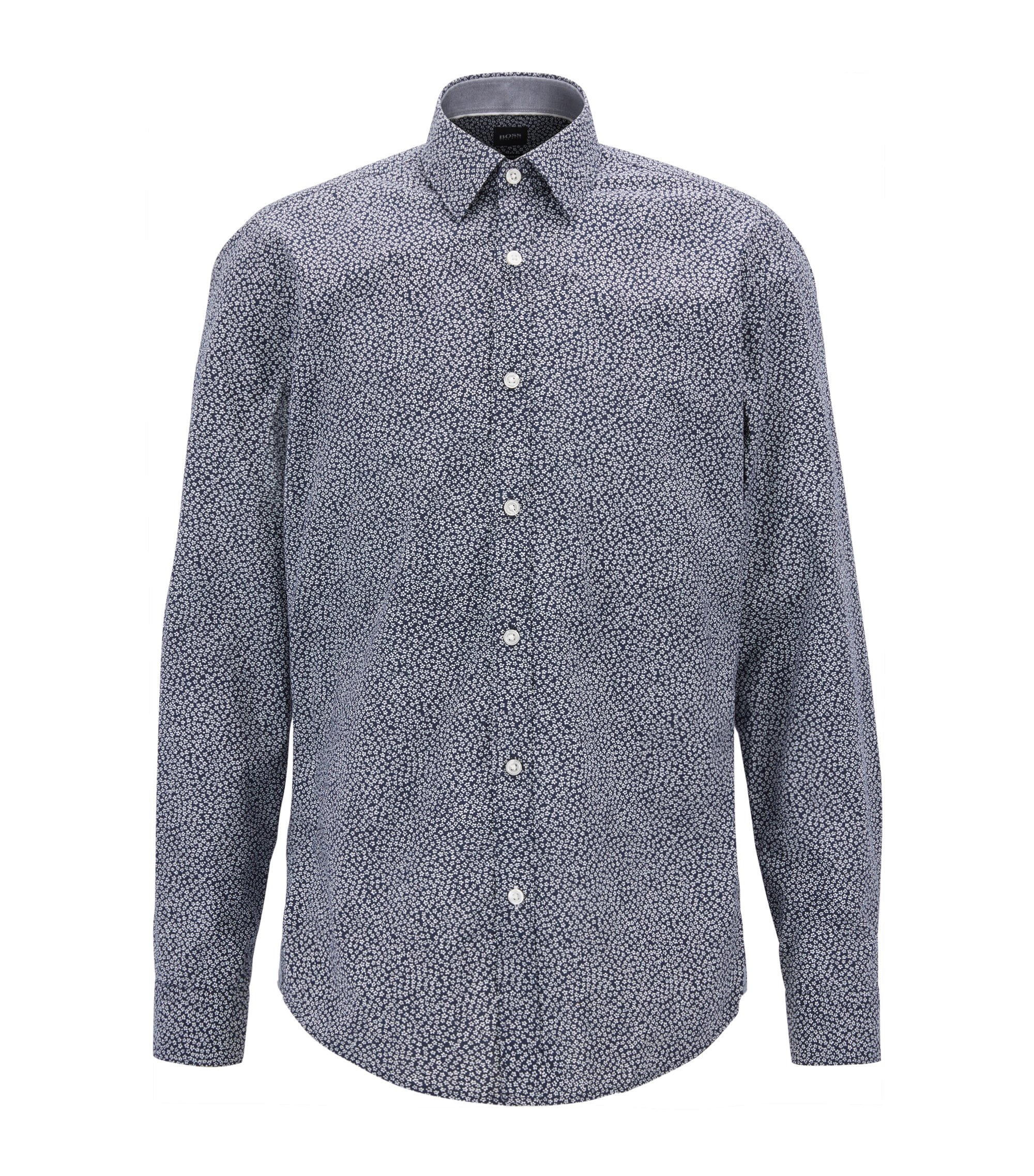 Slim-fit shirt in floral-print cotton, Dark Blue