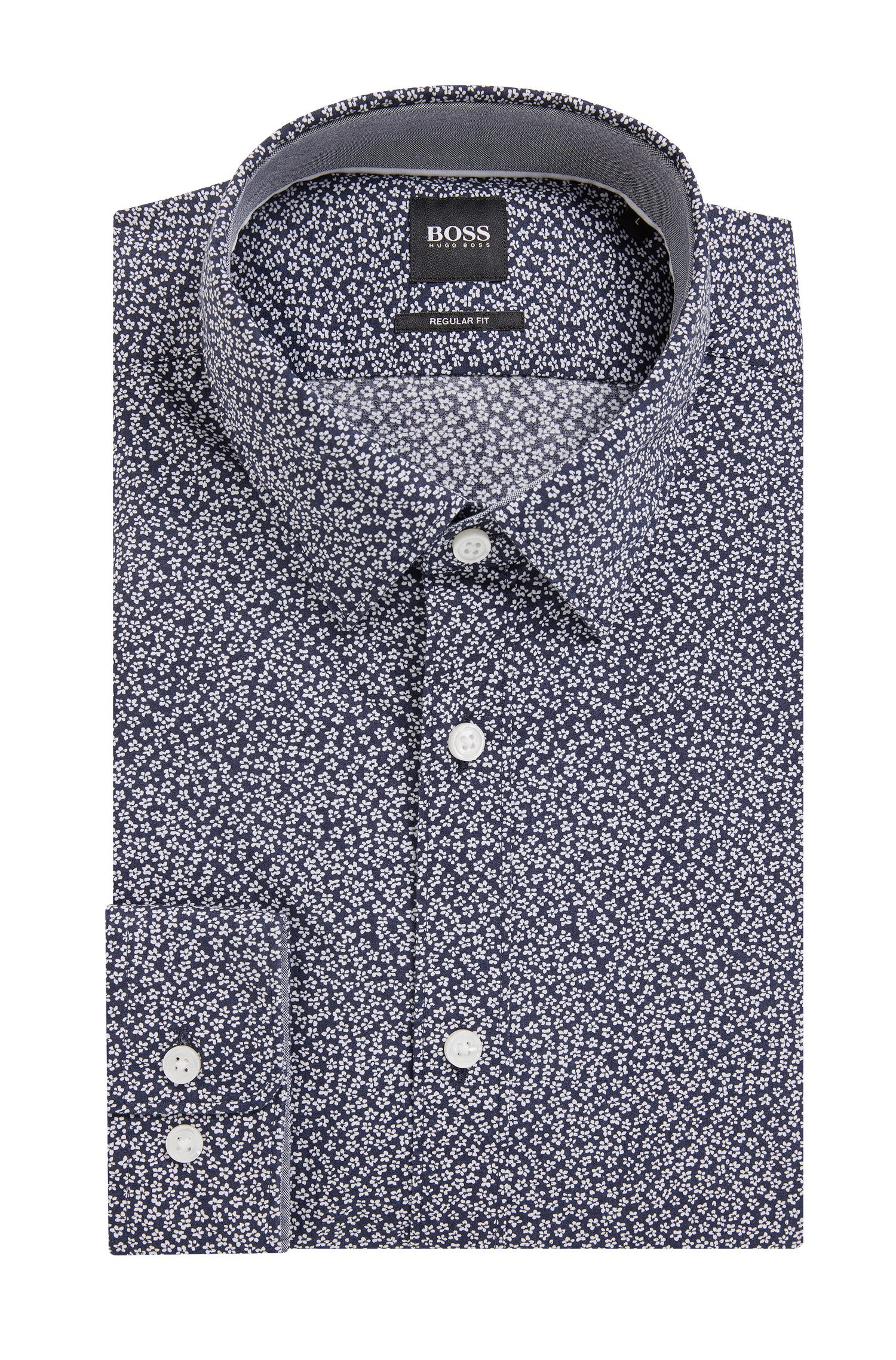 Regular-fit shirt in floral-print cotton