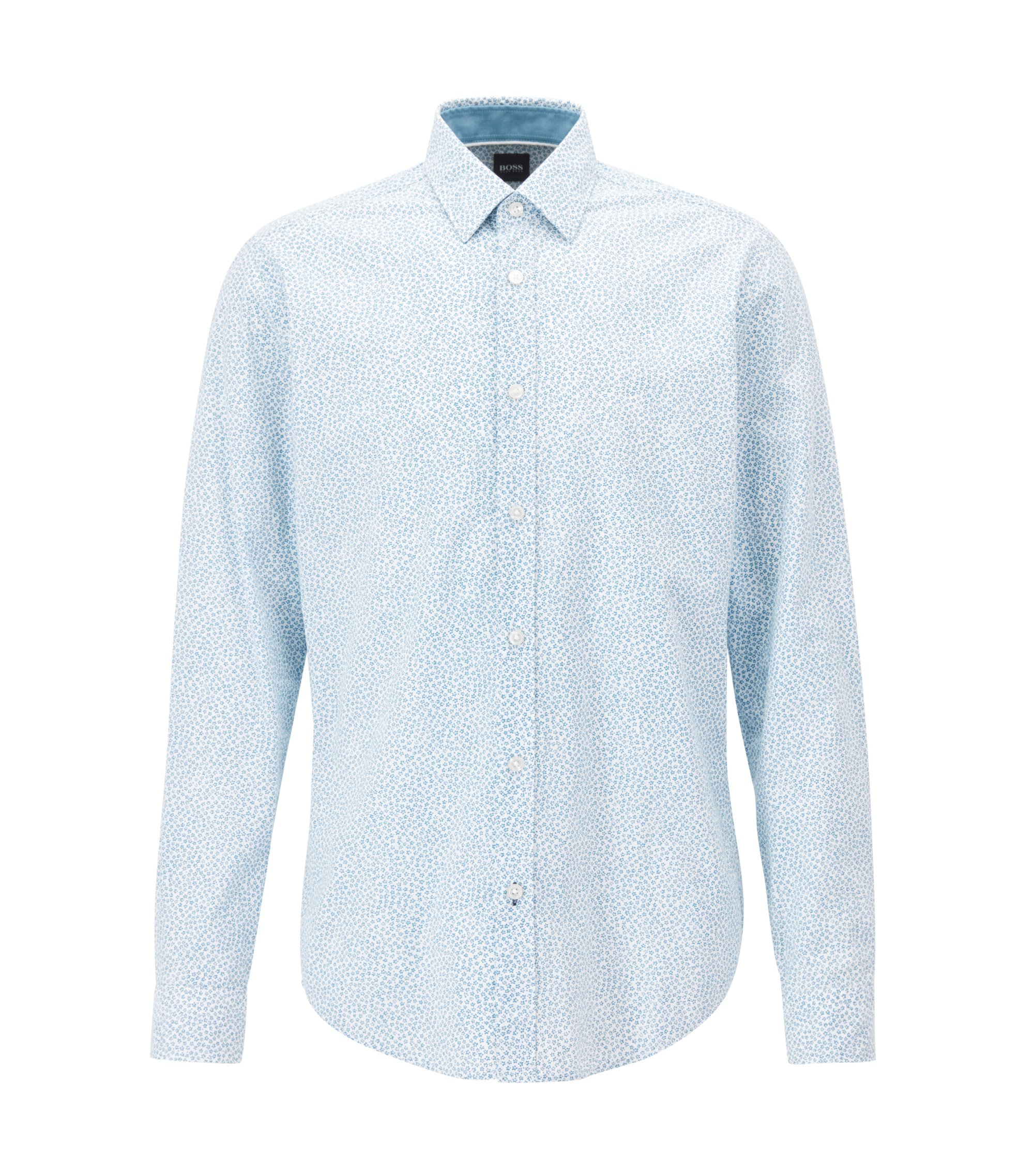 Slim-fit shirt in floral-print cotton, Turquoise