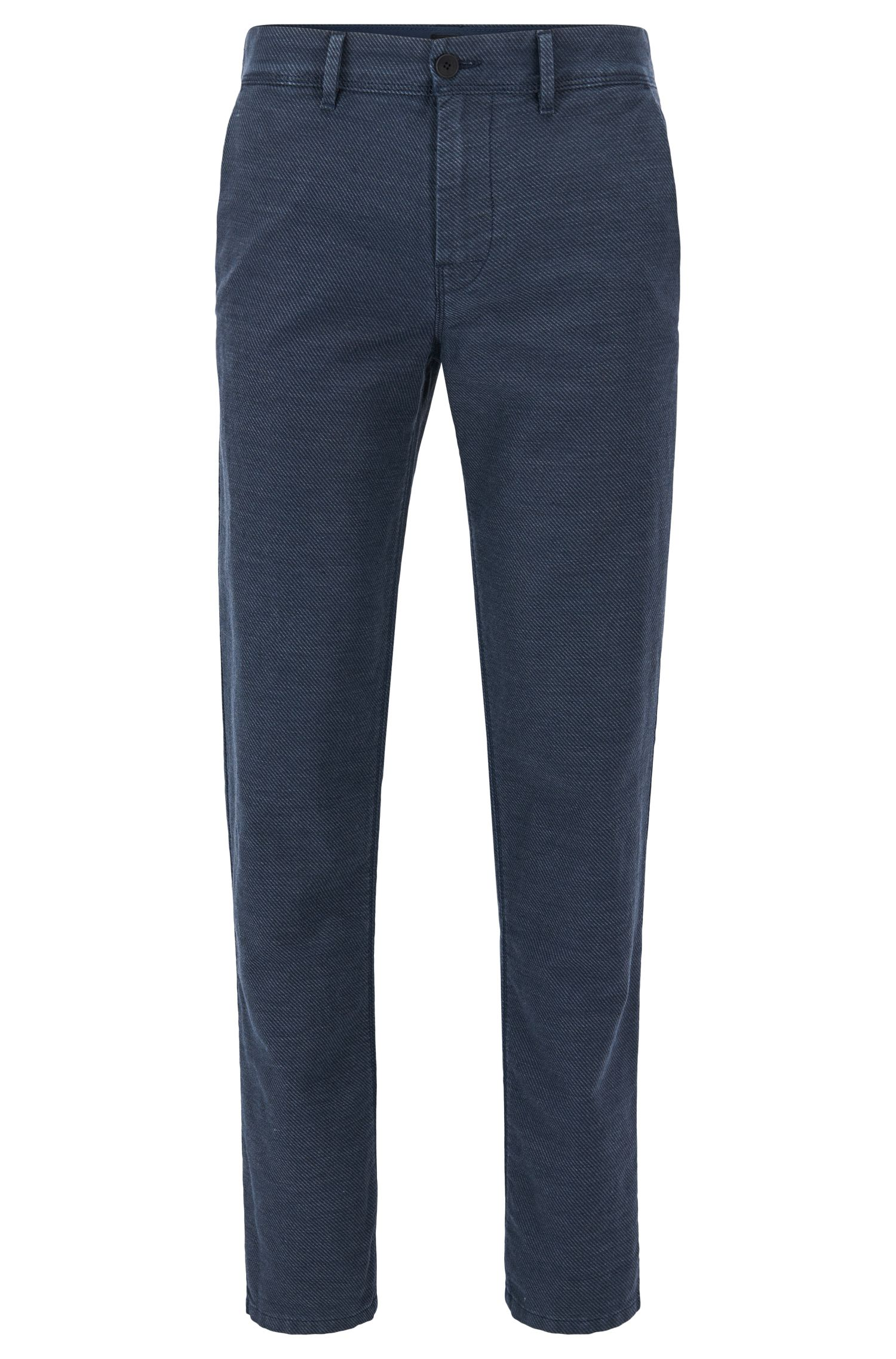 Tapered-fit trousers in midweight twill, Dark Blue