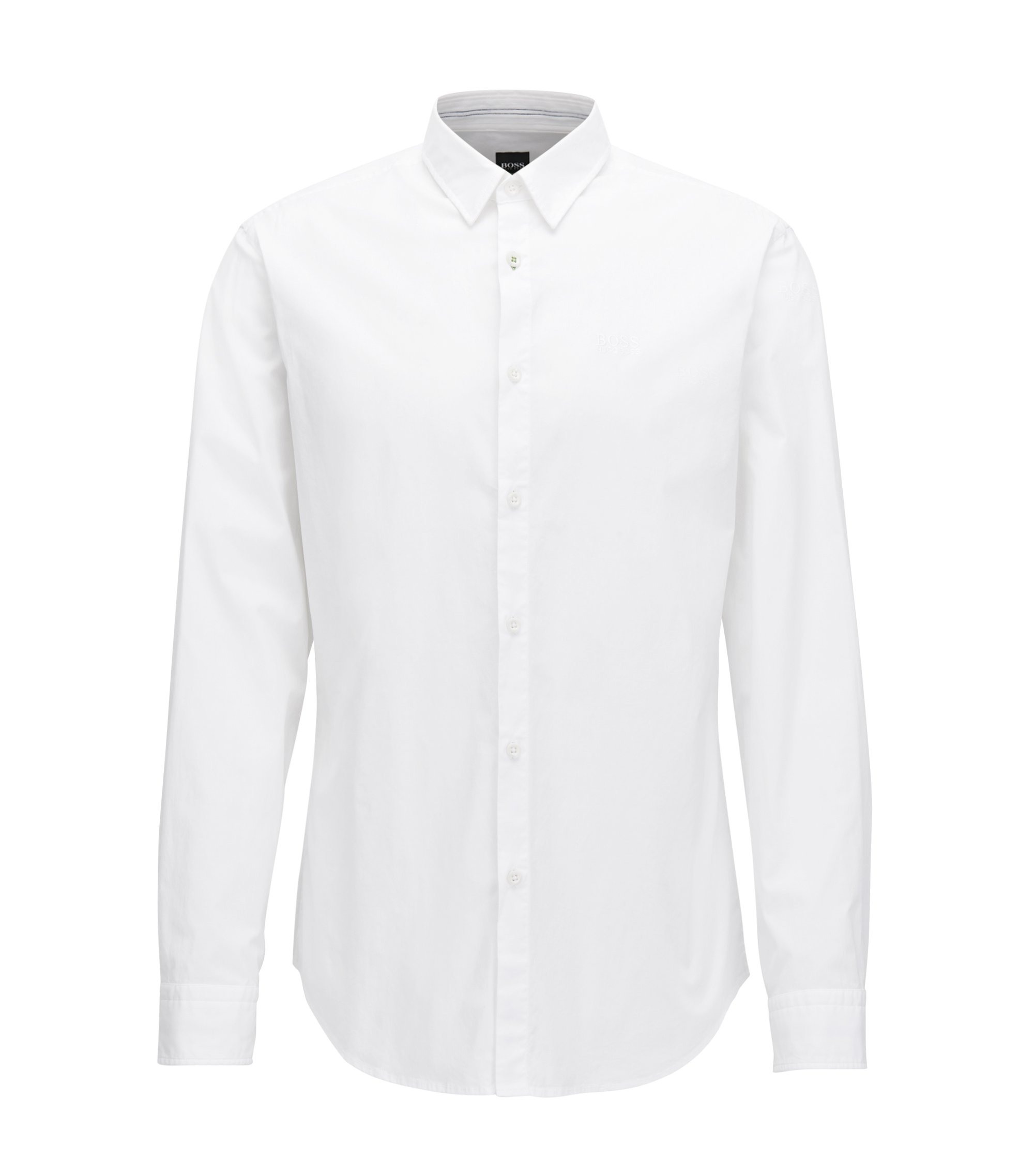 Regular-fit shirt in cotton with moisture management , White