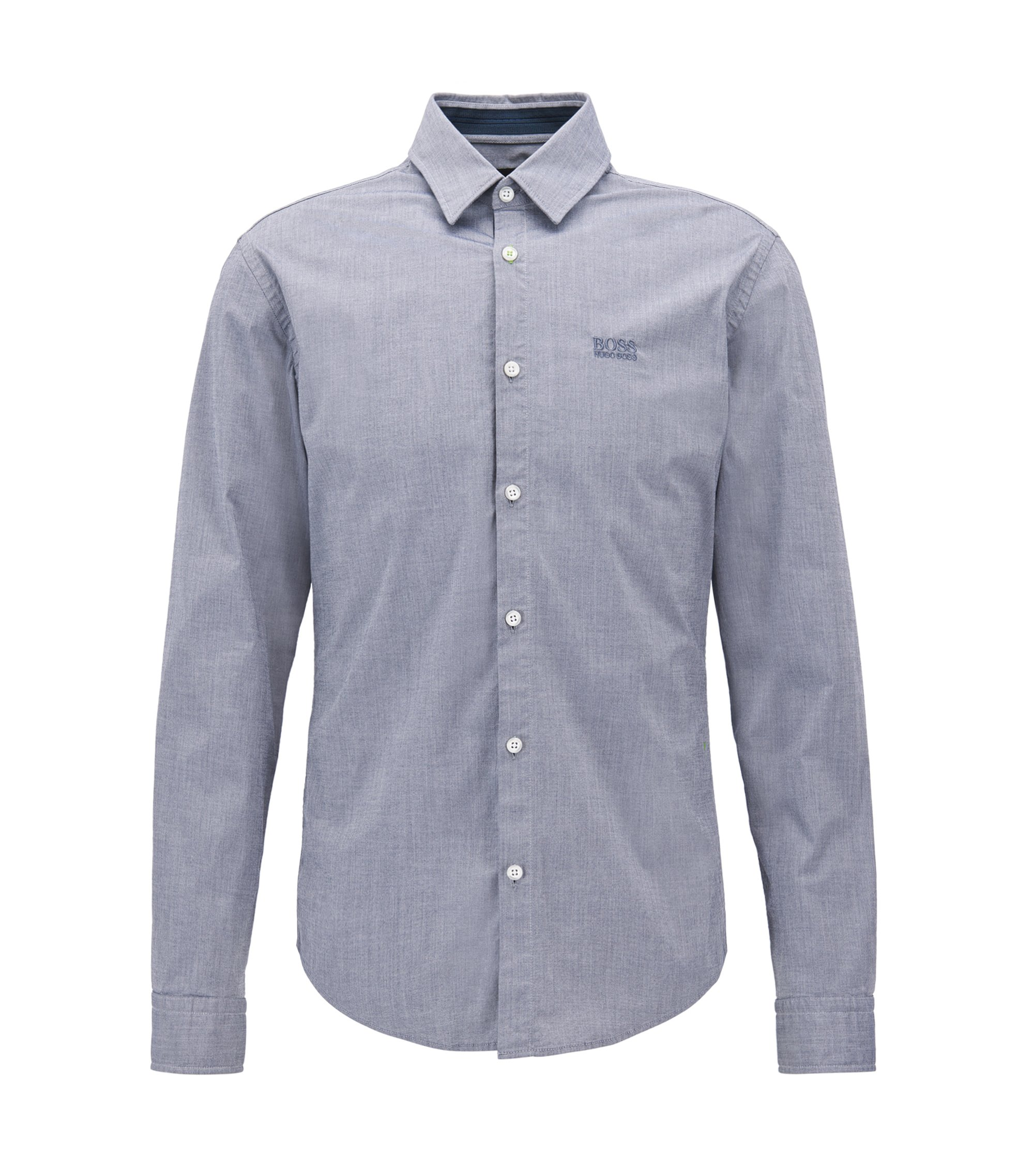 Regular-fit shirt in cotton with moisture management , Dark Blue