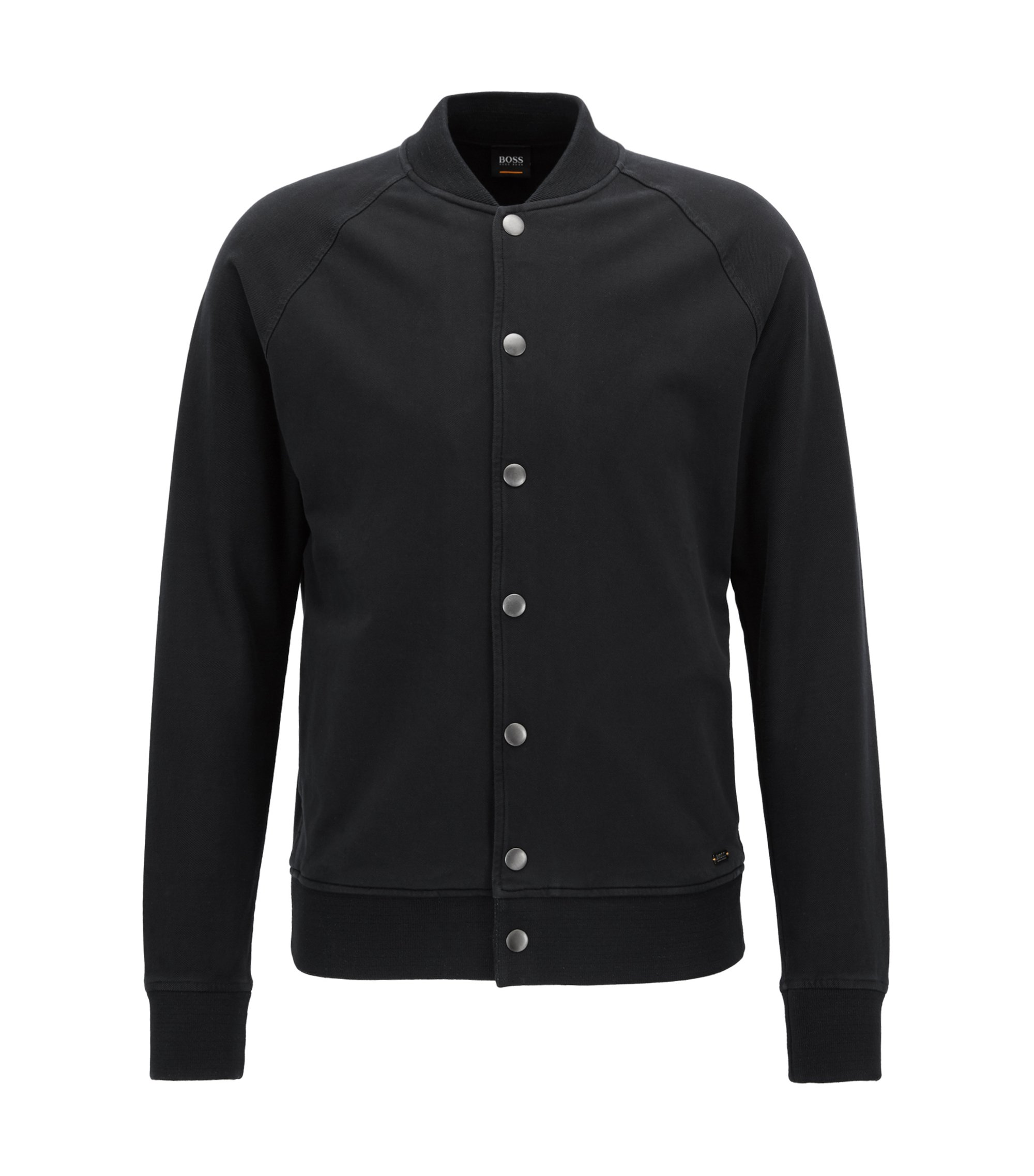 Regular-fit bomber jacket in stretch cotton, Black