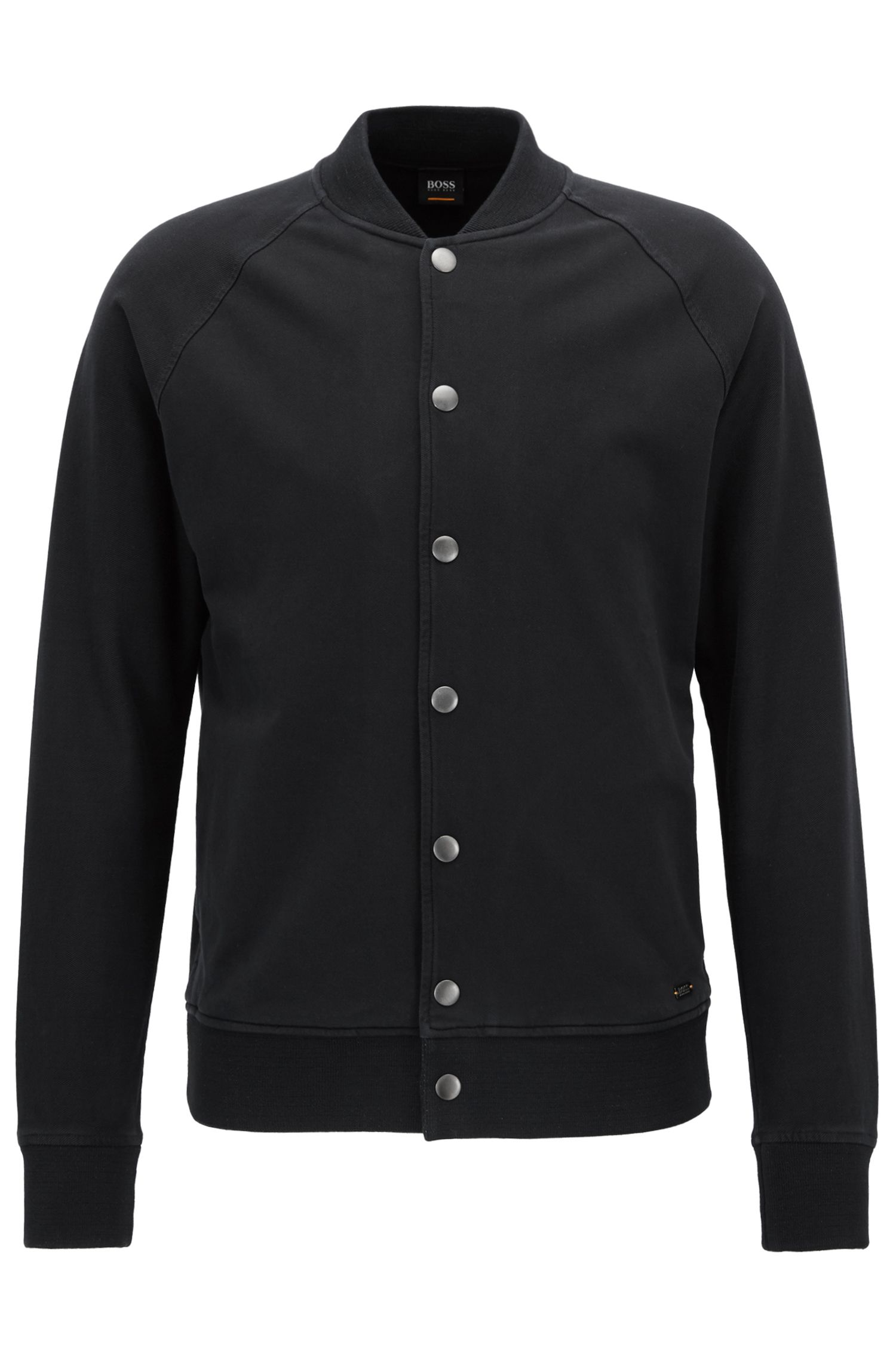 Regular-fit bomber jacket in stretch cotton