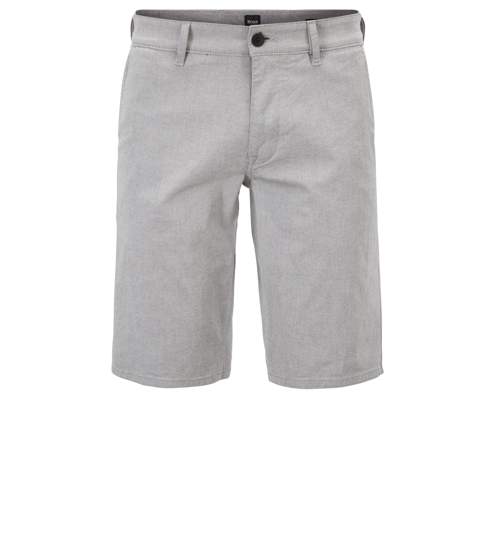 Slim-Fit Shorts aus Stretch-Baumwolle mit filigraner Struktur, Grau