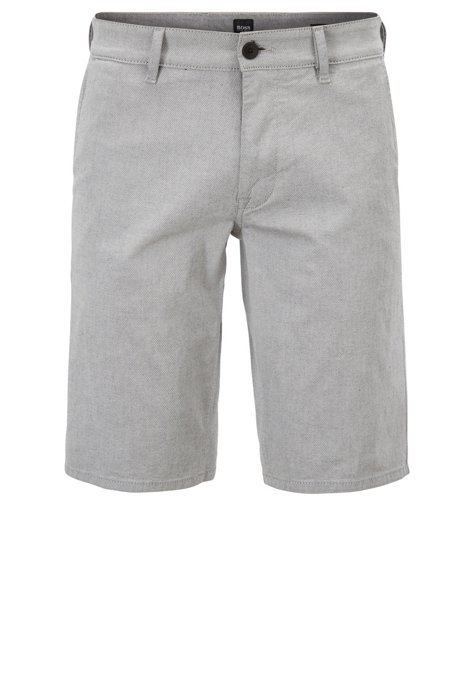 Slim-fit stretch-cotton shorts with micro structure BOSS lRgTVSP
