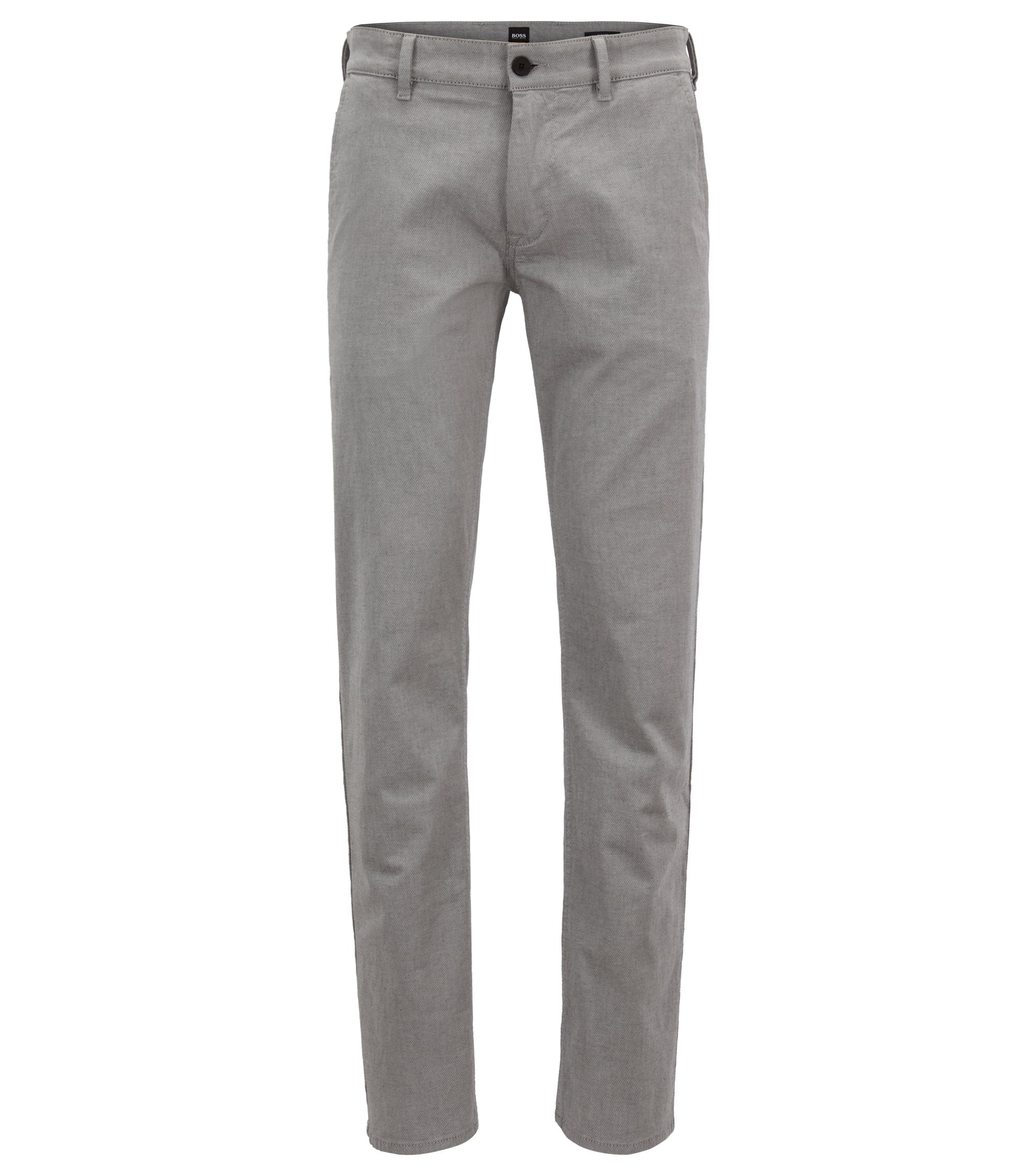 Slim-fit stretch-cotton trousers with micro structure, Grey
