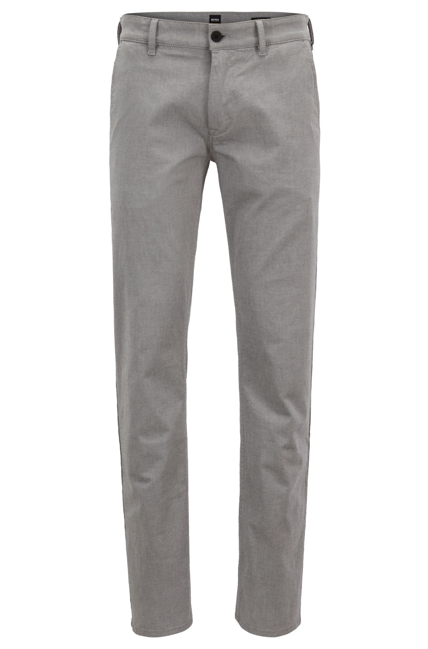 Pantalon Slim Fit en coton stretch microstructuré