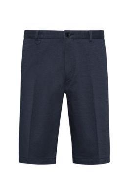 Short slim en coton stretch à motif logo écrit à la main, Bleu foncé