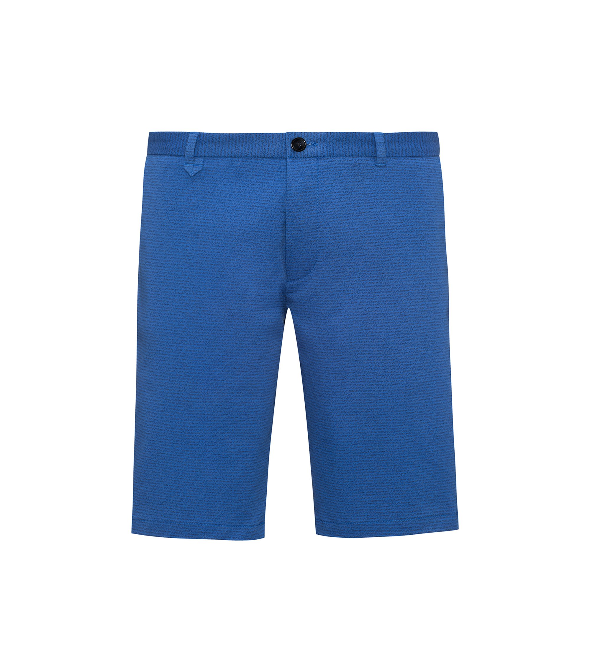 Slim-leg stretch-cotton shorts with handwritten logo motif, Blue