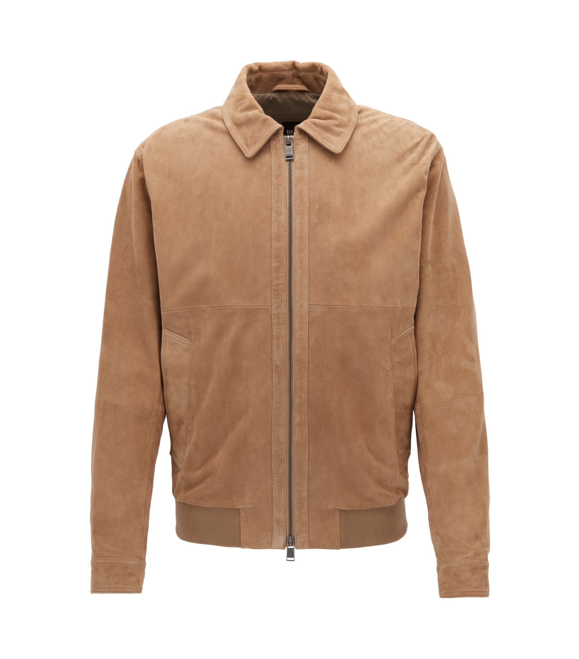Suede aviator jacket with two-way zip, Beige