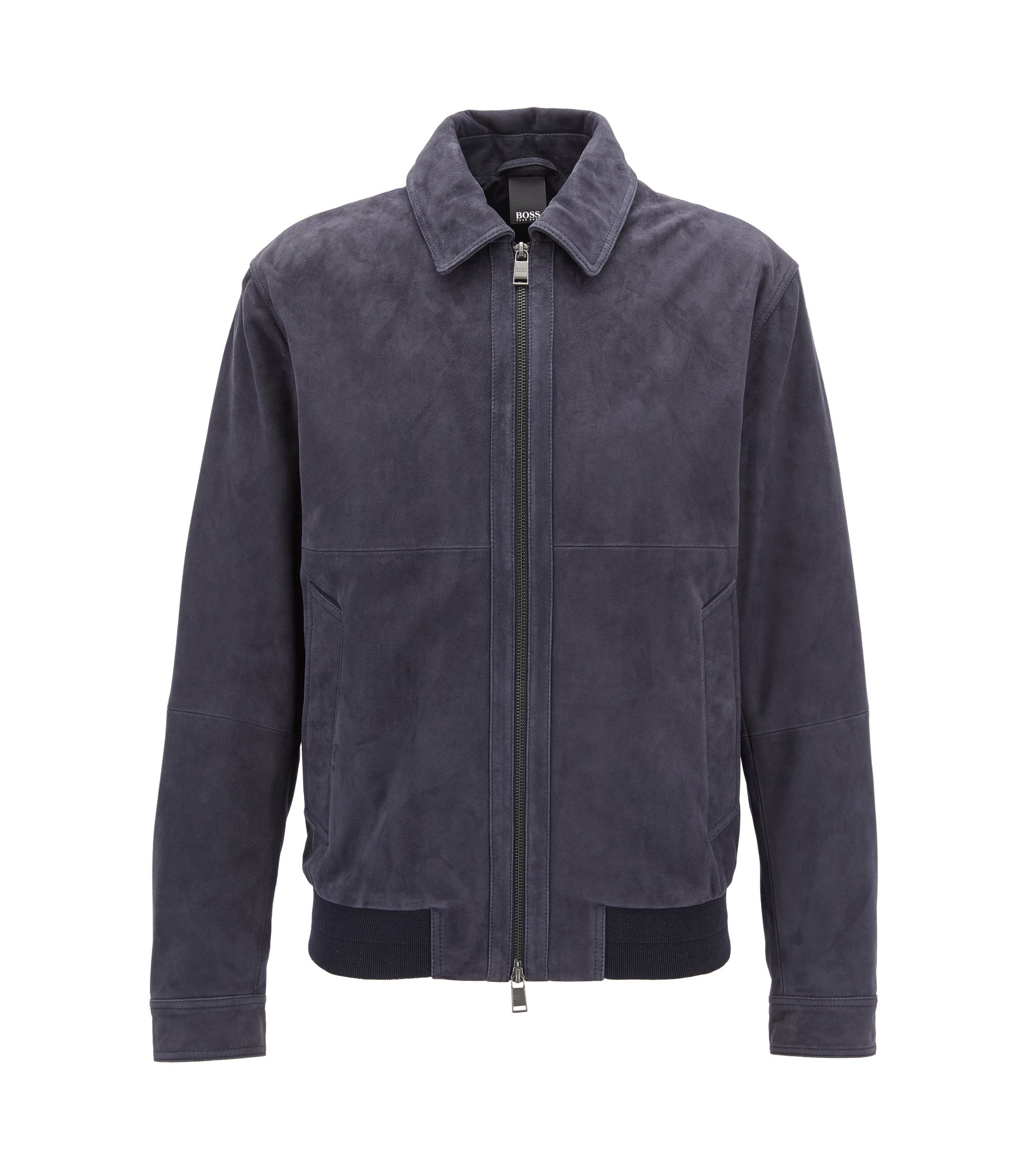 Suede aviator jacket with two-way zip, Dark Blue