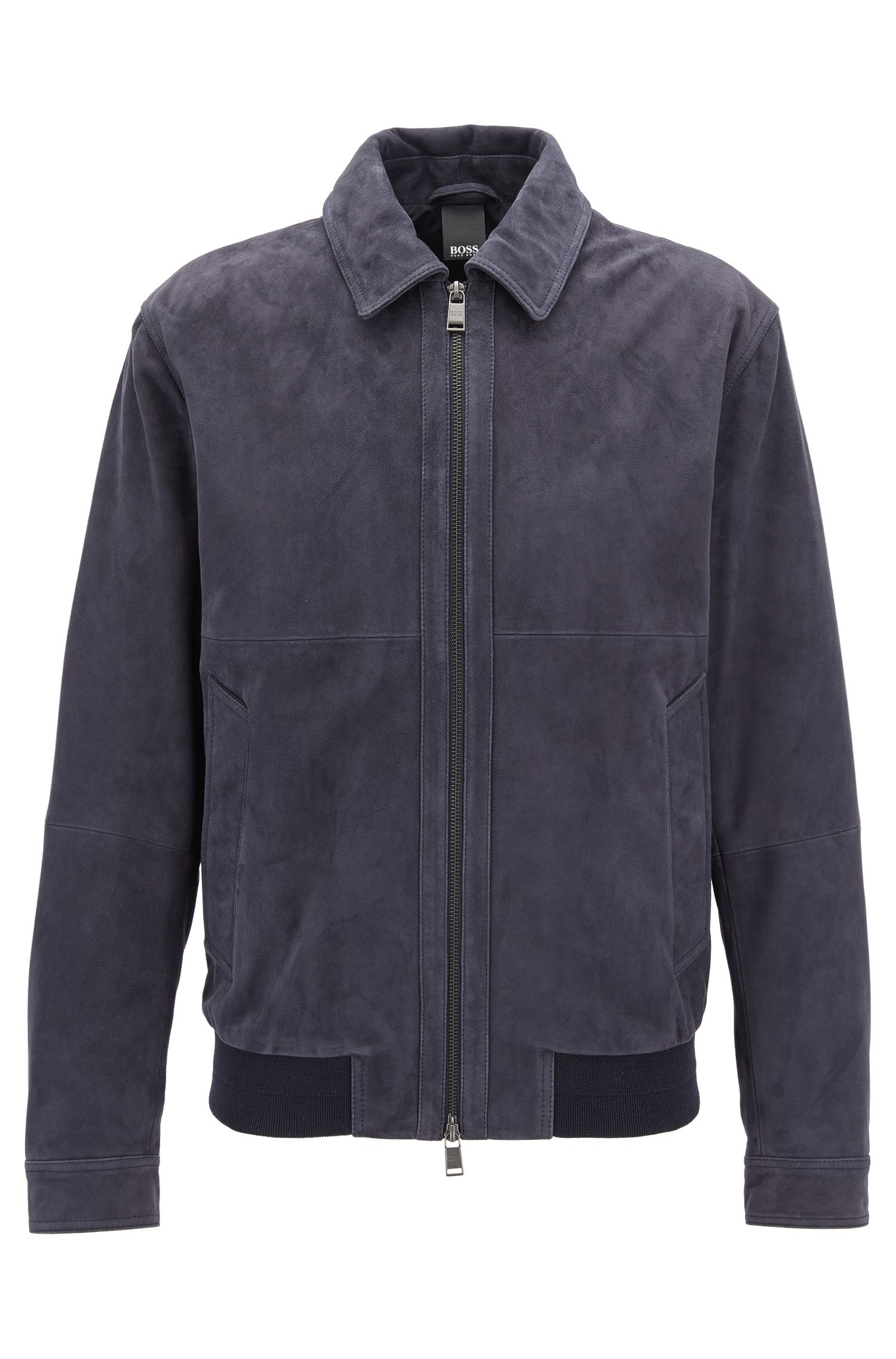 Suede aviator jacket with two-way zip
