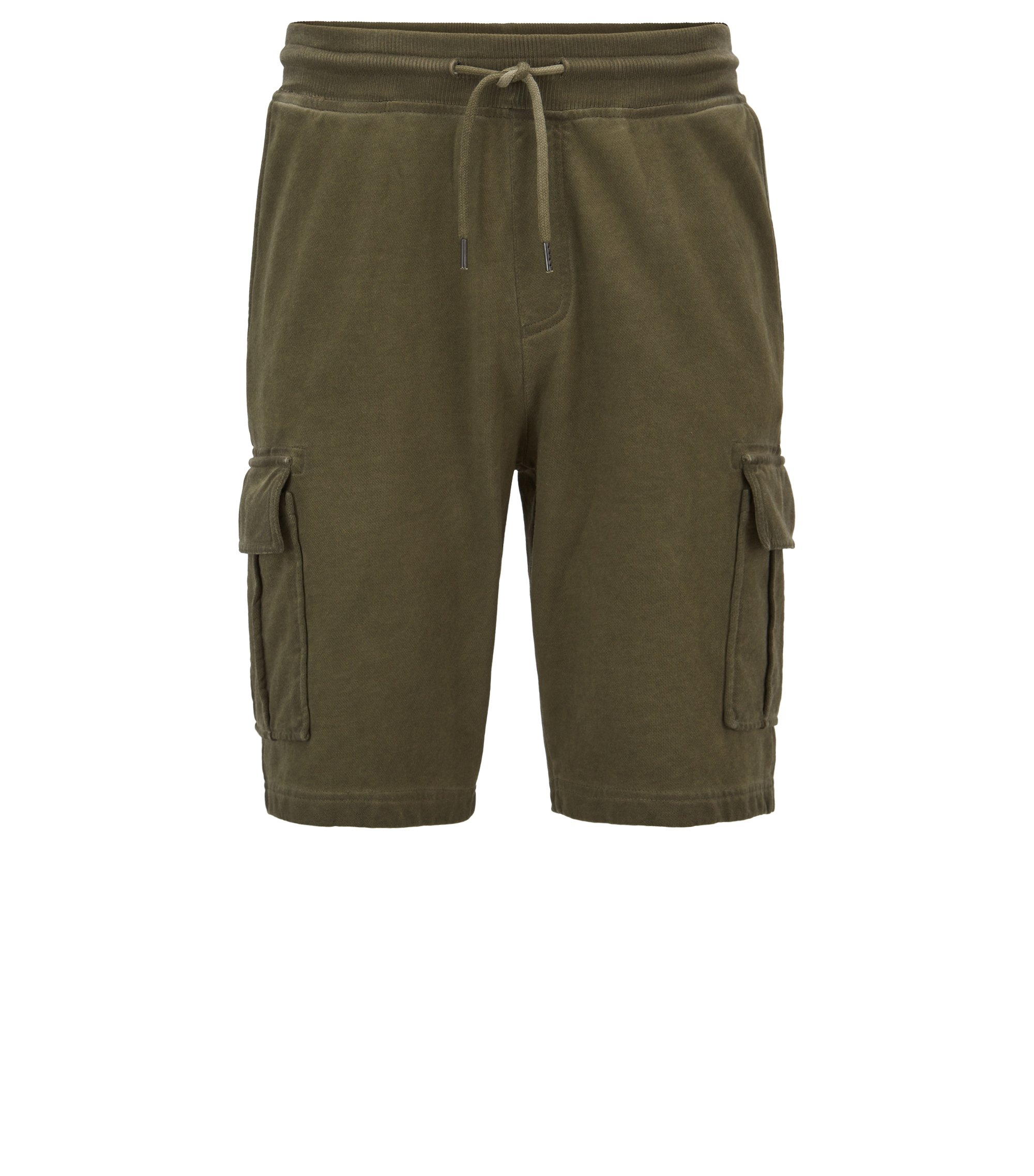 Short Regular Fit en molleton French Terry teint en pièce, Vert sombre