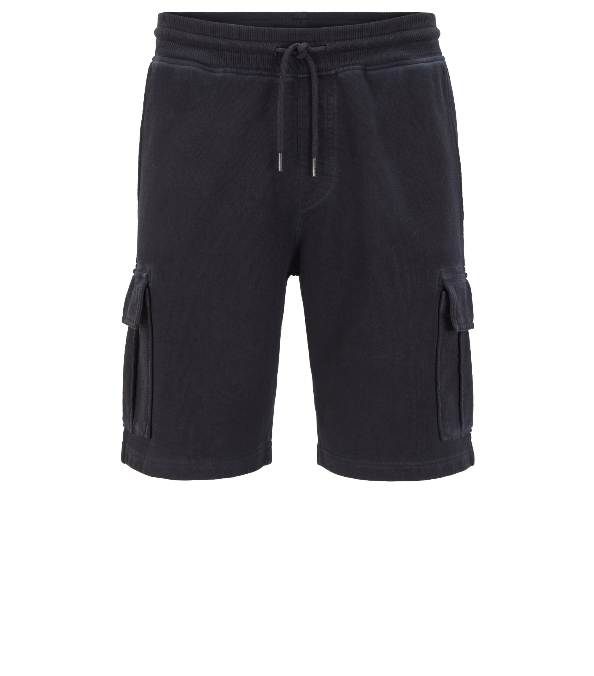 Short Regular Fit en molleton French Terry teint en pièce, Bleu foncé