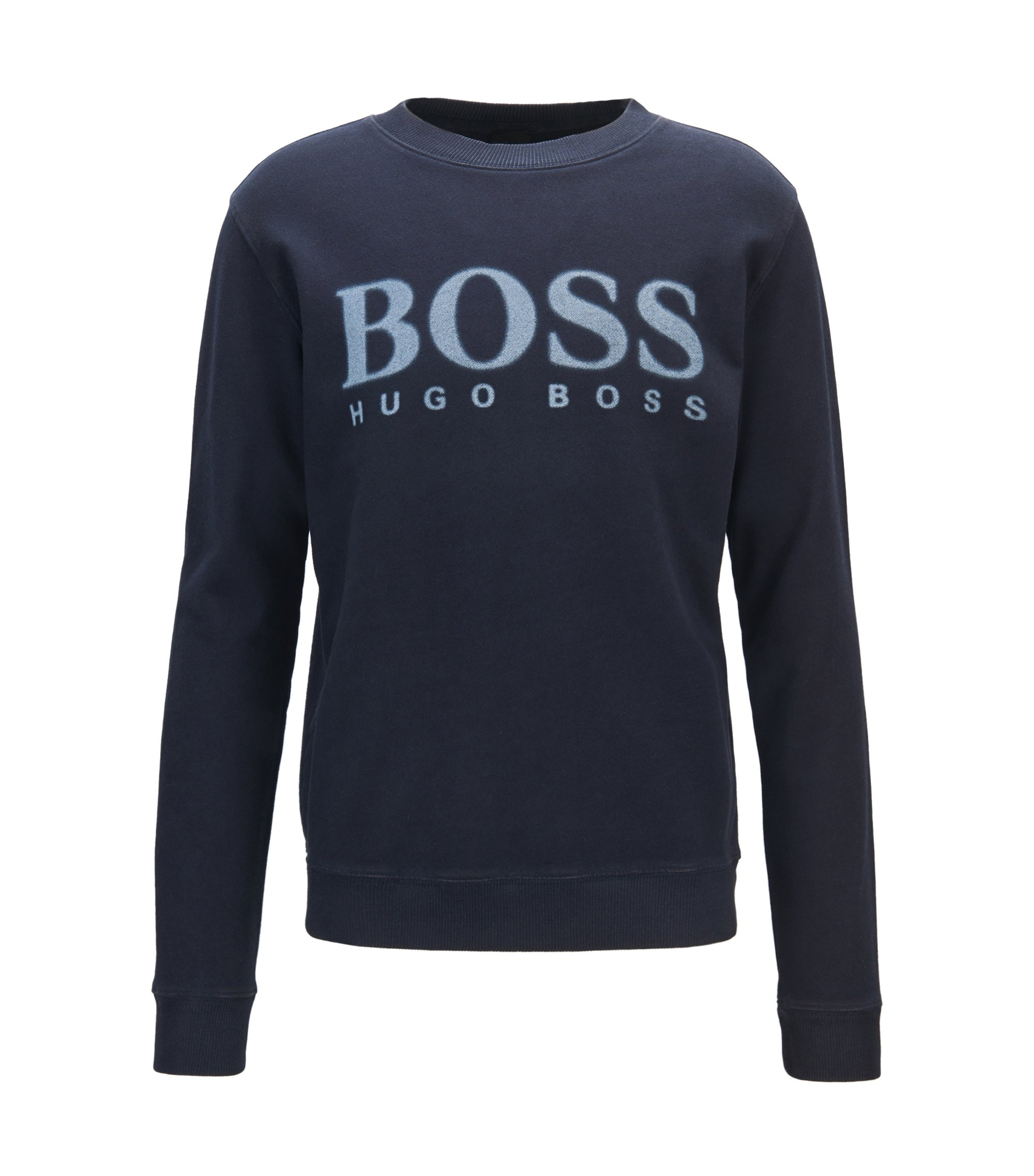 Logo sweater in cotton French terry, Dark Blue