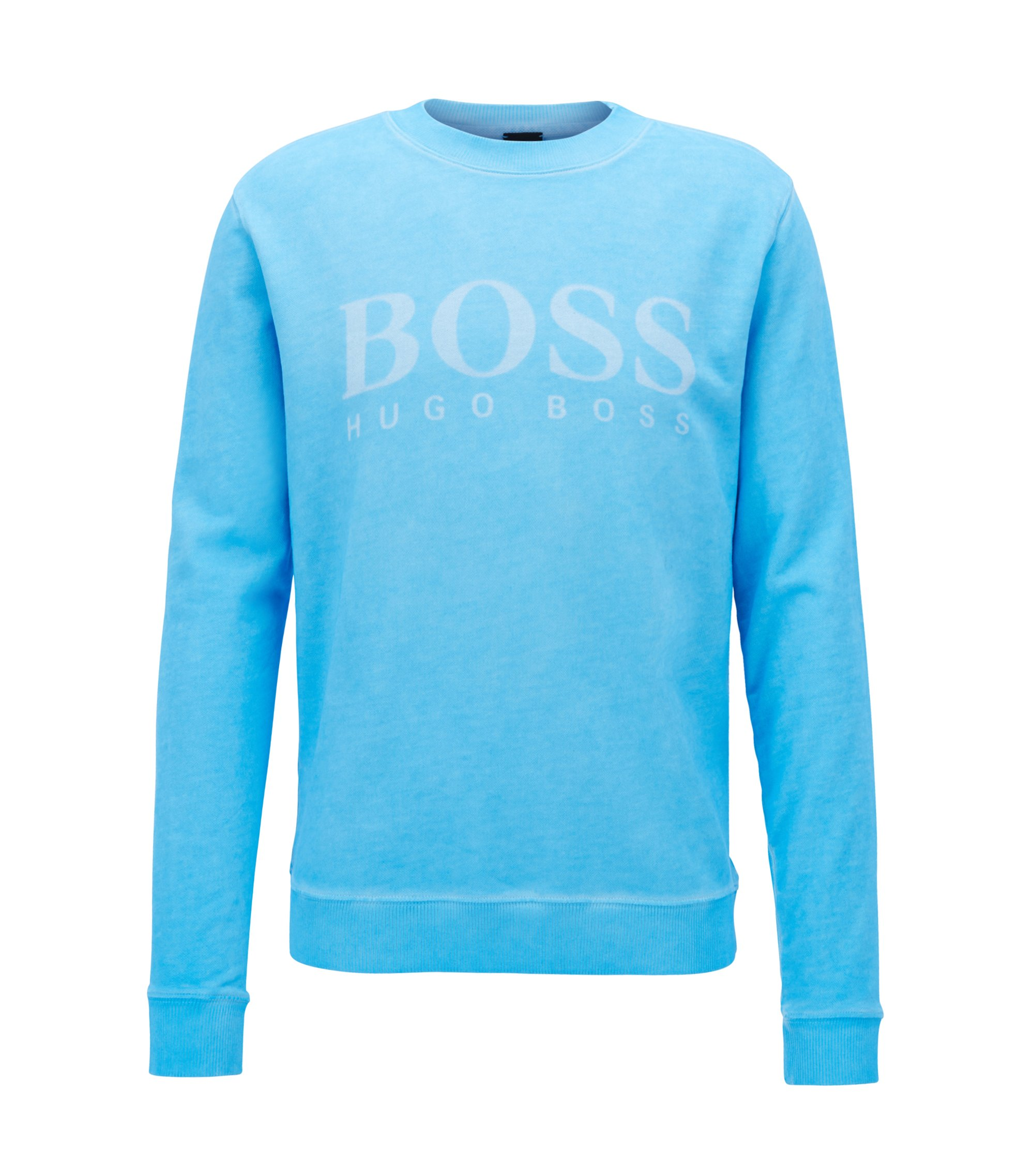 Logo sweater in cotton French terry, Light Blue