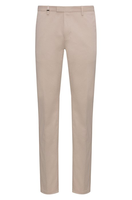 Slim-fit stretch-cotton trousers with micro logo print HUGO BOSS Pick A Best Sale Online Wiki For Sale Free Shipping Professional Get Authentic Sale Online wiWEJfdmg