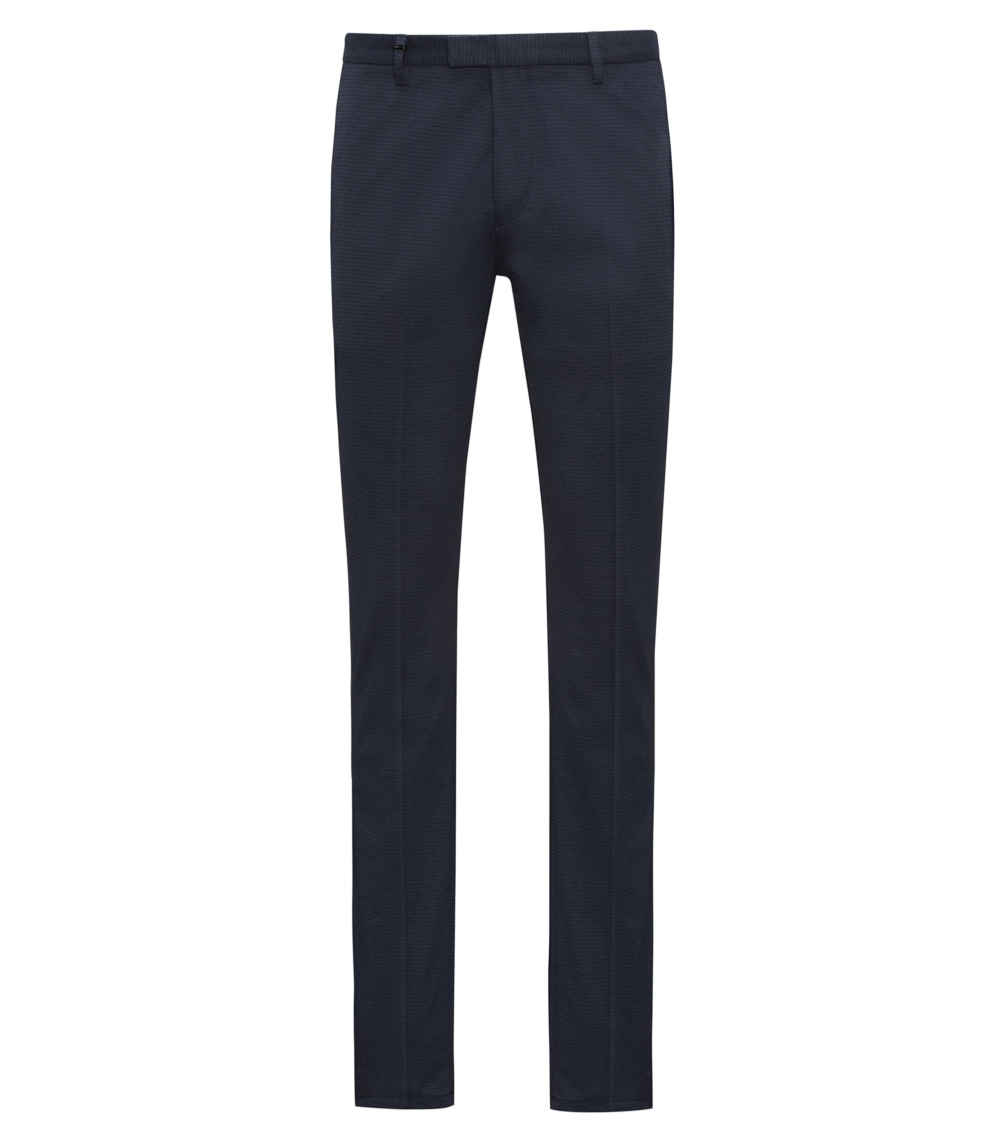 Slim-fit stretch-cotton trousers with micro logo print, Dark Blue