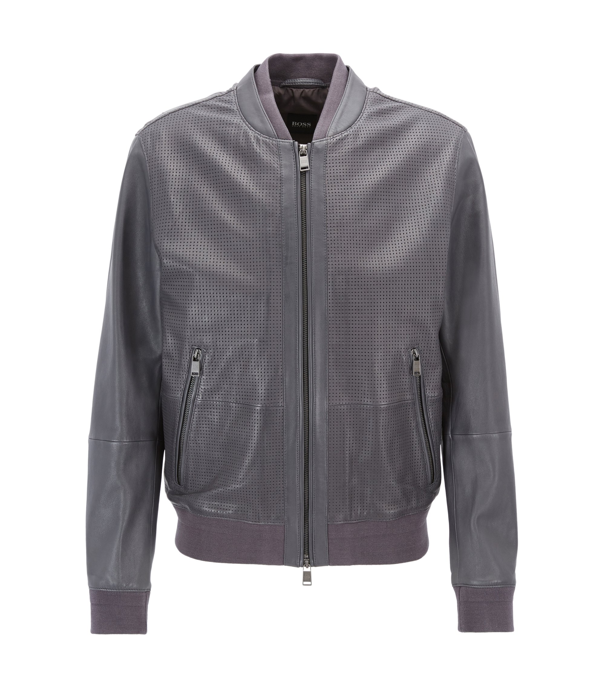 Bomber jacket in perforated leather, Dark Grey
