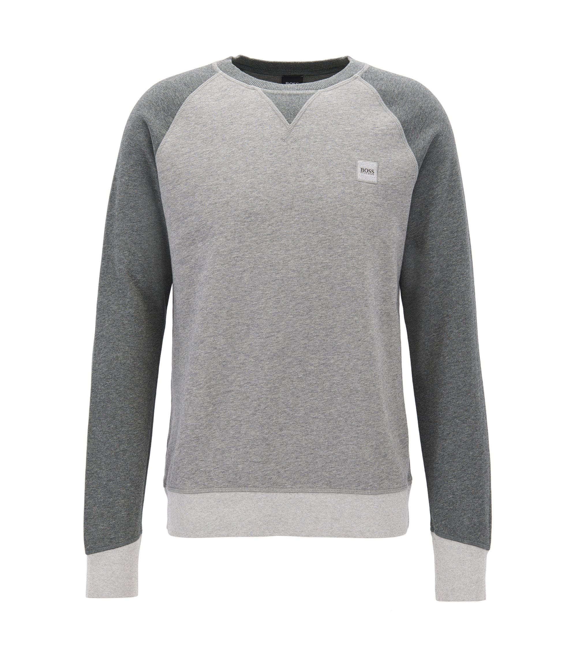 Pullover aus French Terry in Colour-Block-Optik, Grau