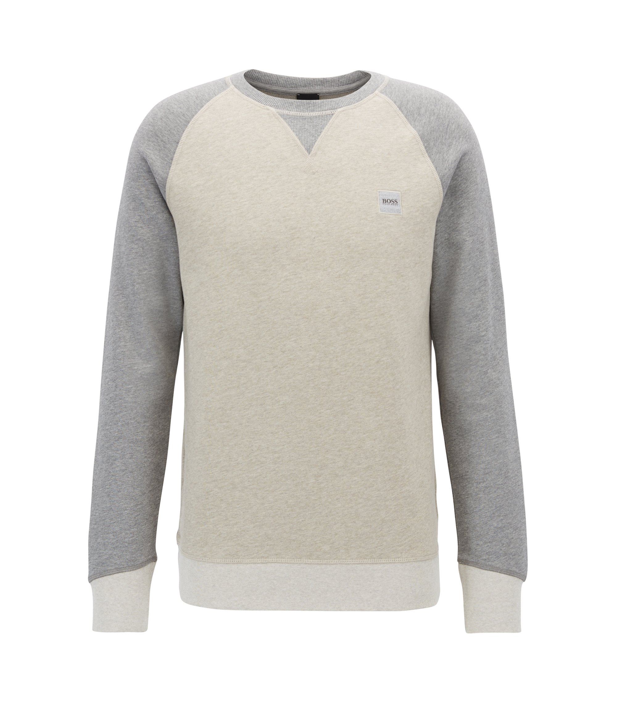 Pullover aus French Terry in Colour-Block-Optik, Beige