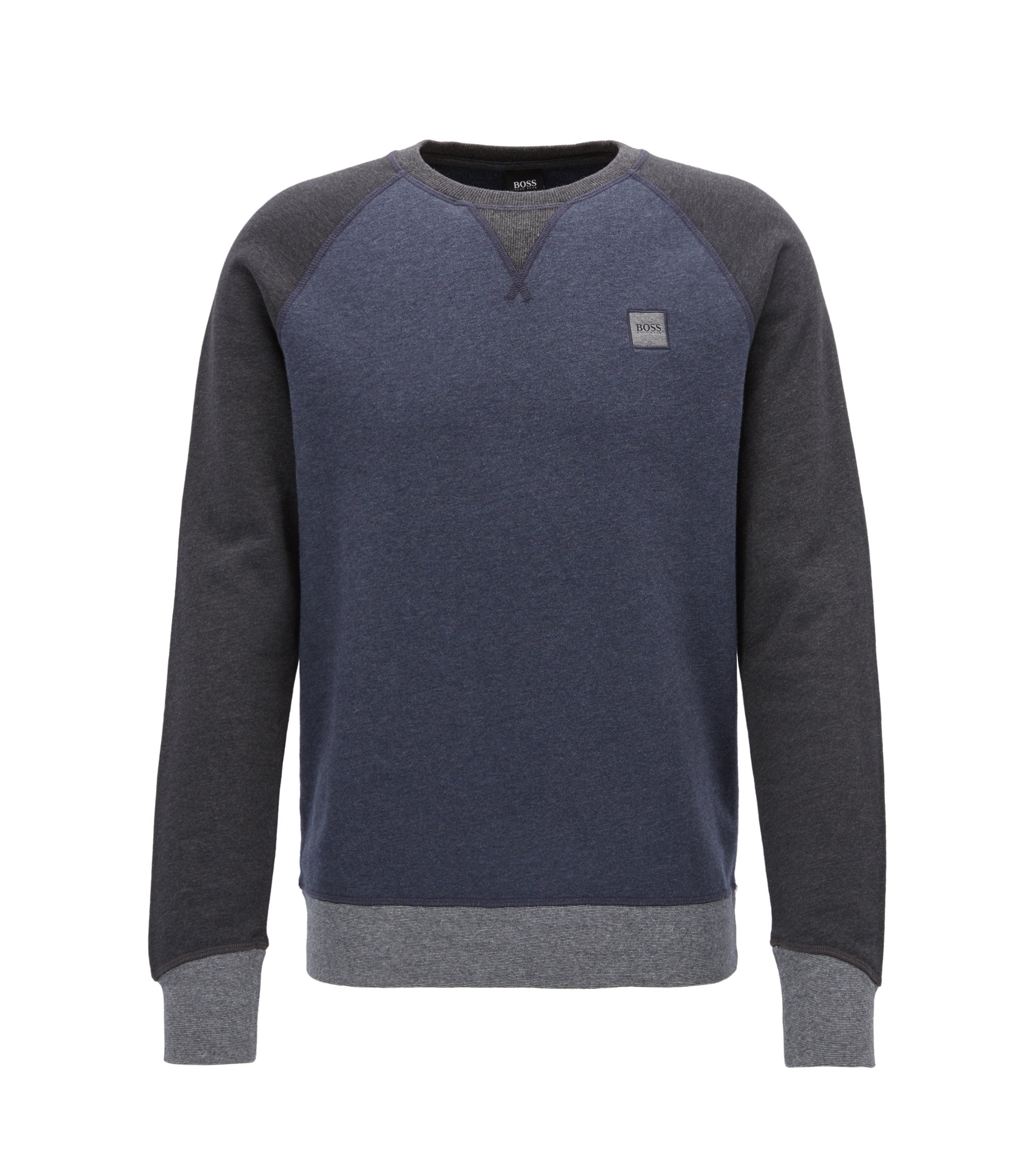 Pullover aus French Terry in Colour-Block-Optik, Dunkelblau