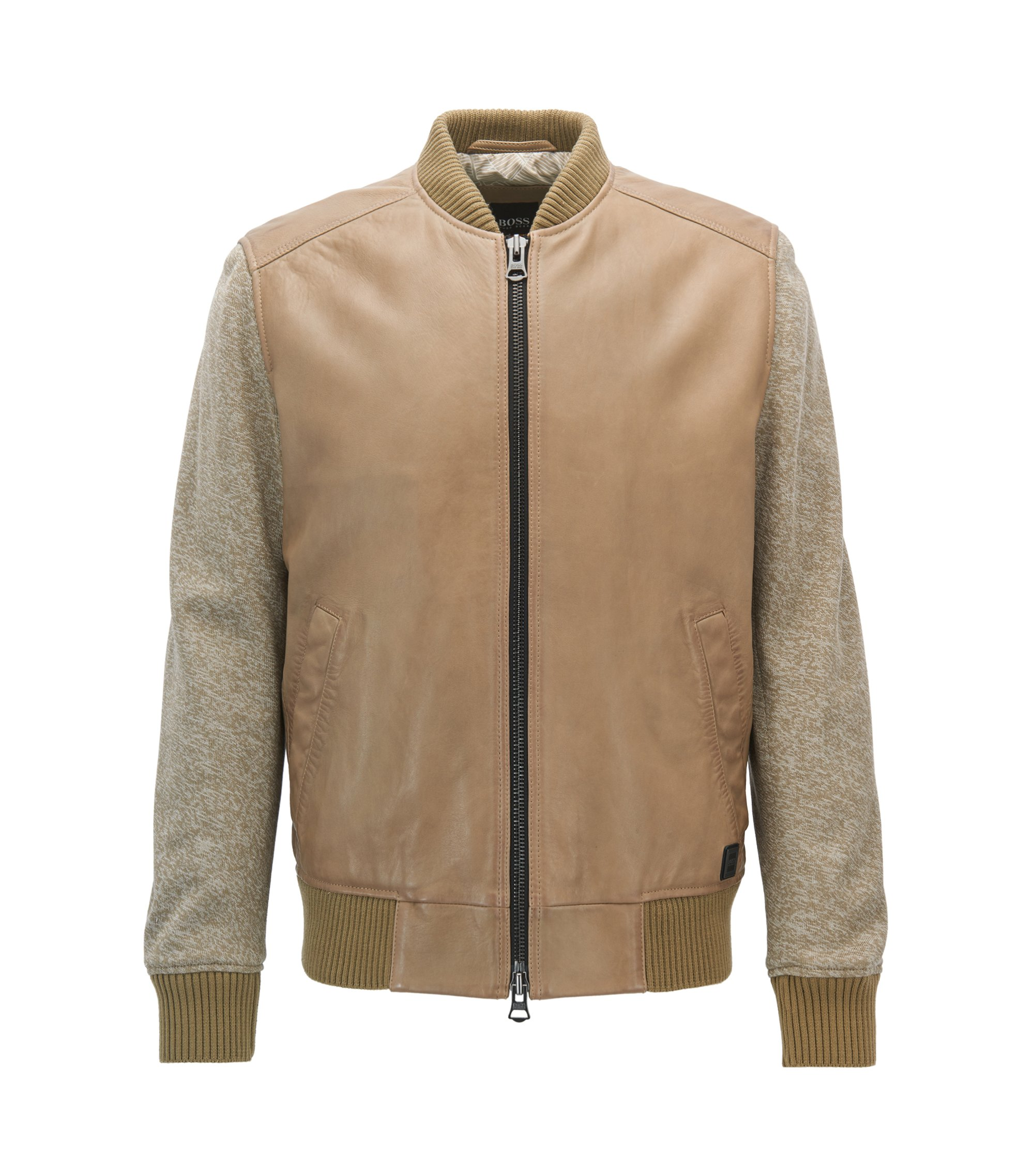 Bomber jacket in leather with knitted sleeves, Beige