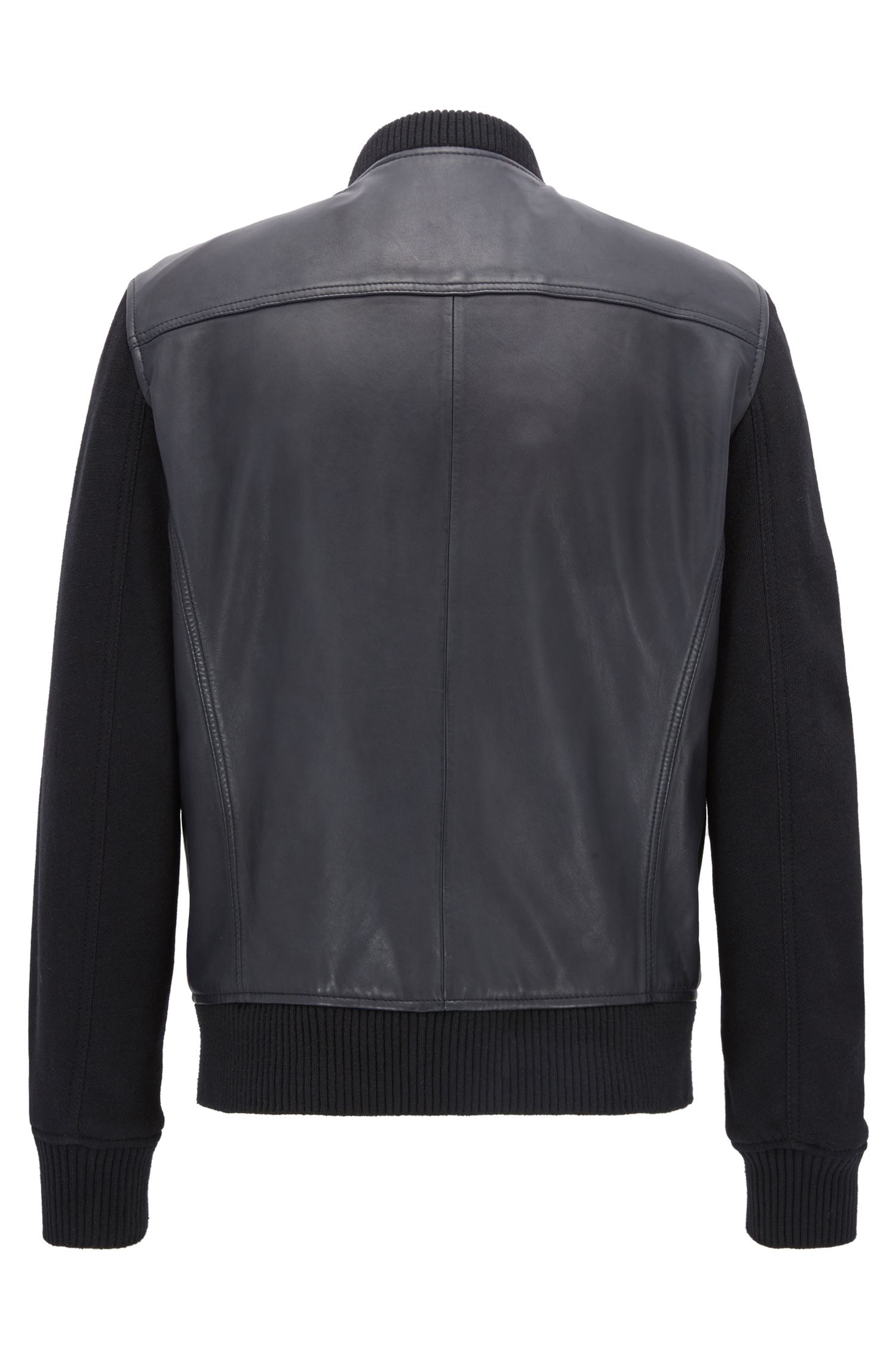 Bomber jacket in leather with knitted sleeves