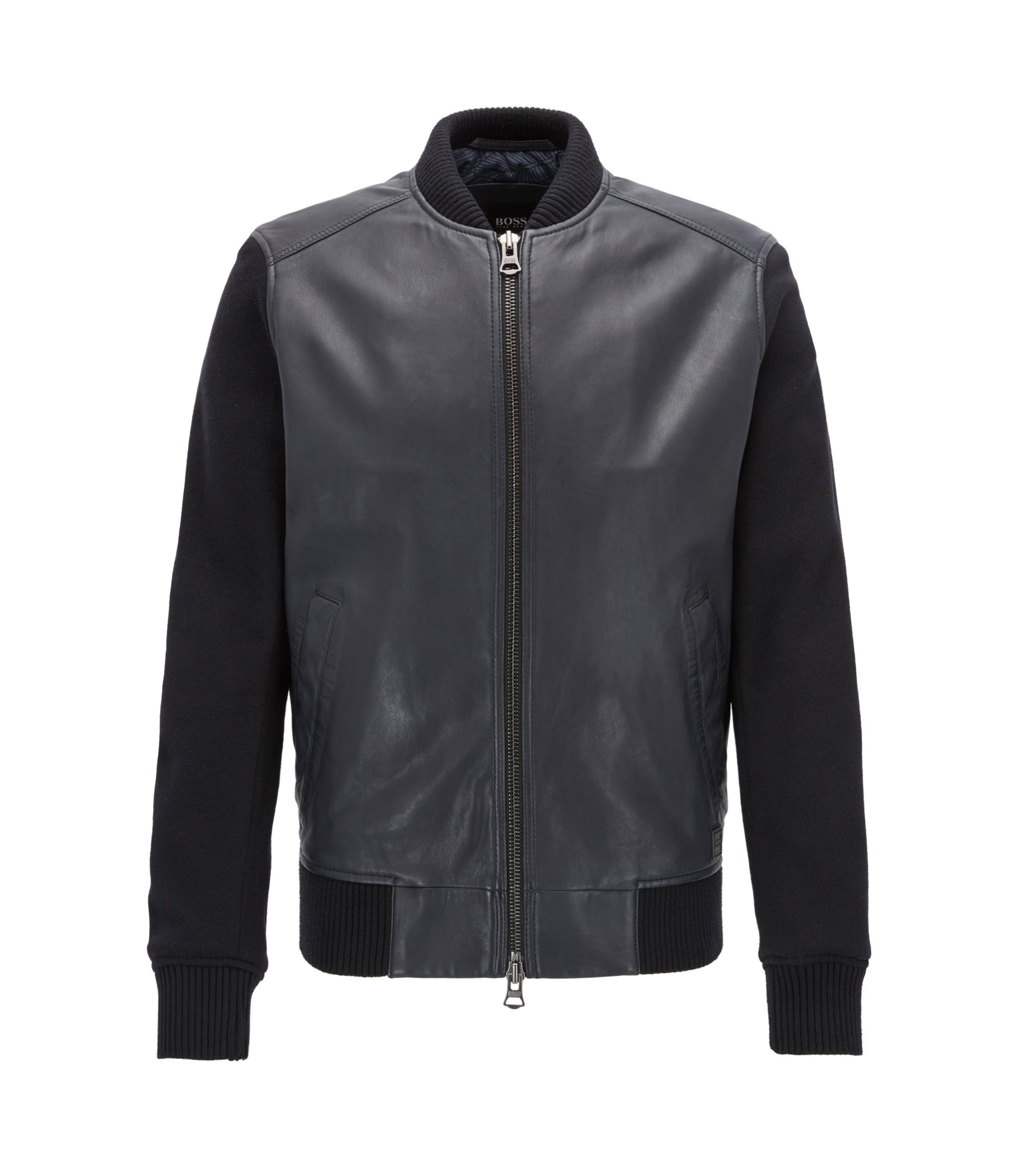 Bomber jacket in leather with knitted sleeves, Dark Blue