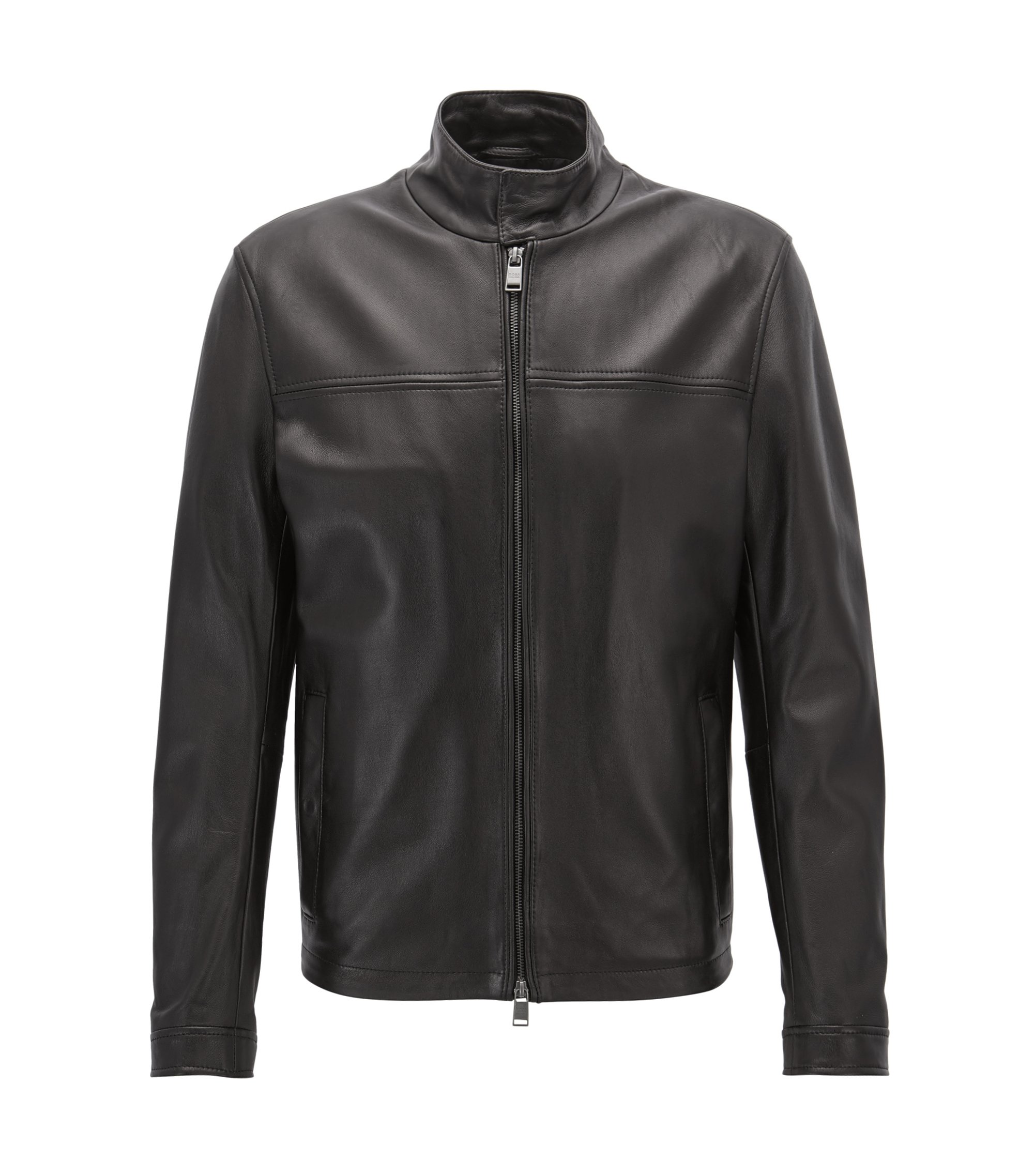 Blouson-style leather jacket with knitted trim, Black
