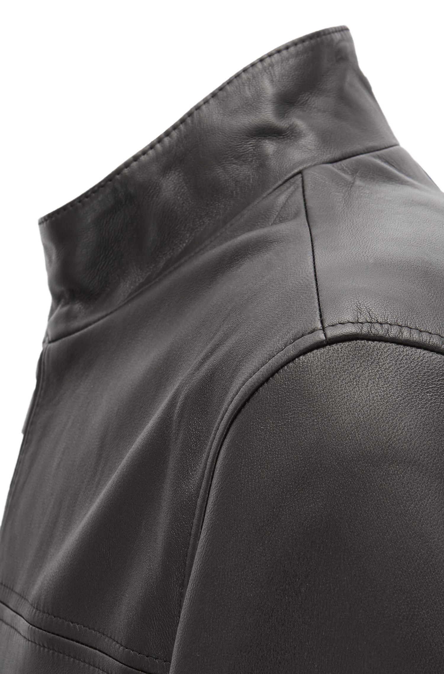 Regular-Fit Lederjacke im Blouson-Stil mit Strick-Besatz