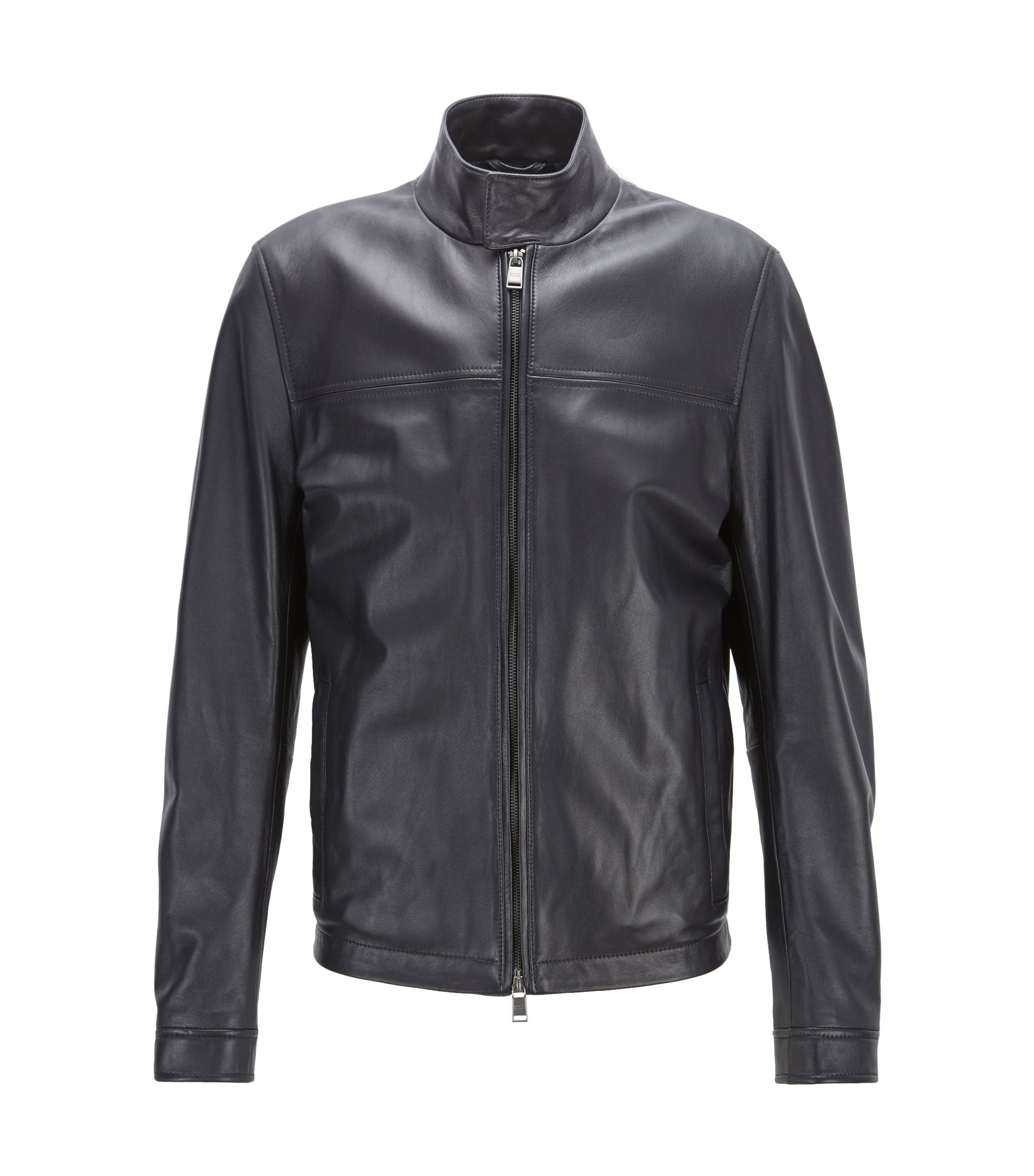 Blouson-style leather jacket with knitted trim, Dark Blue