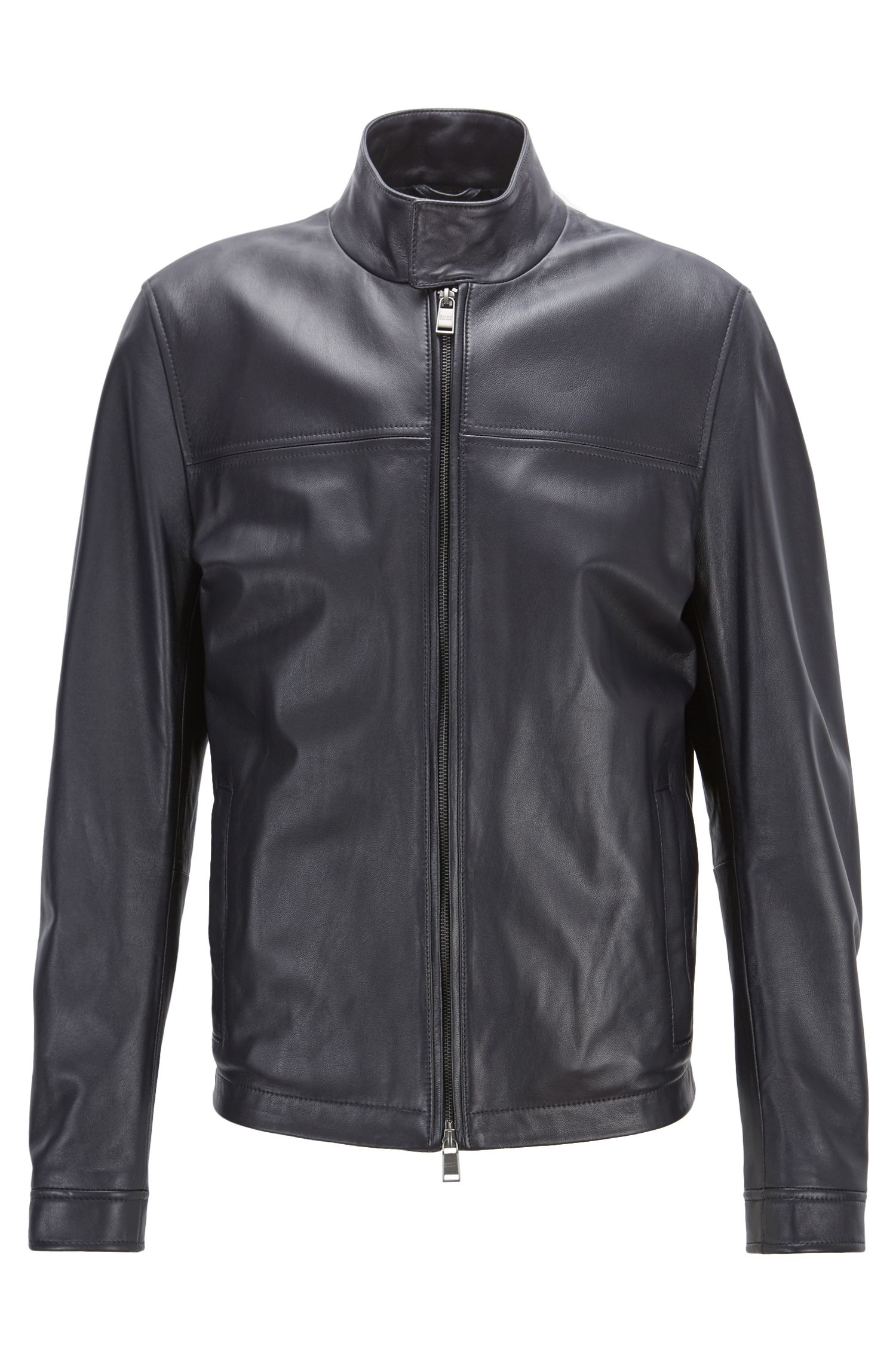 Blouson-style leather jacket with knitted trim