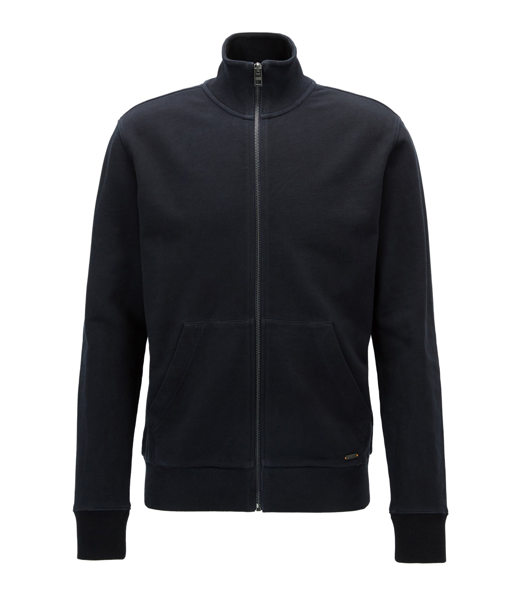 Regular-fit zip-through jacket in pure cotton, Dark Blue