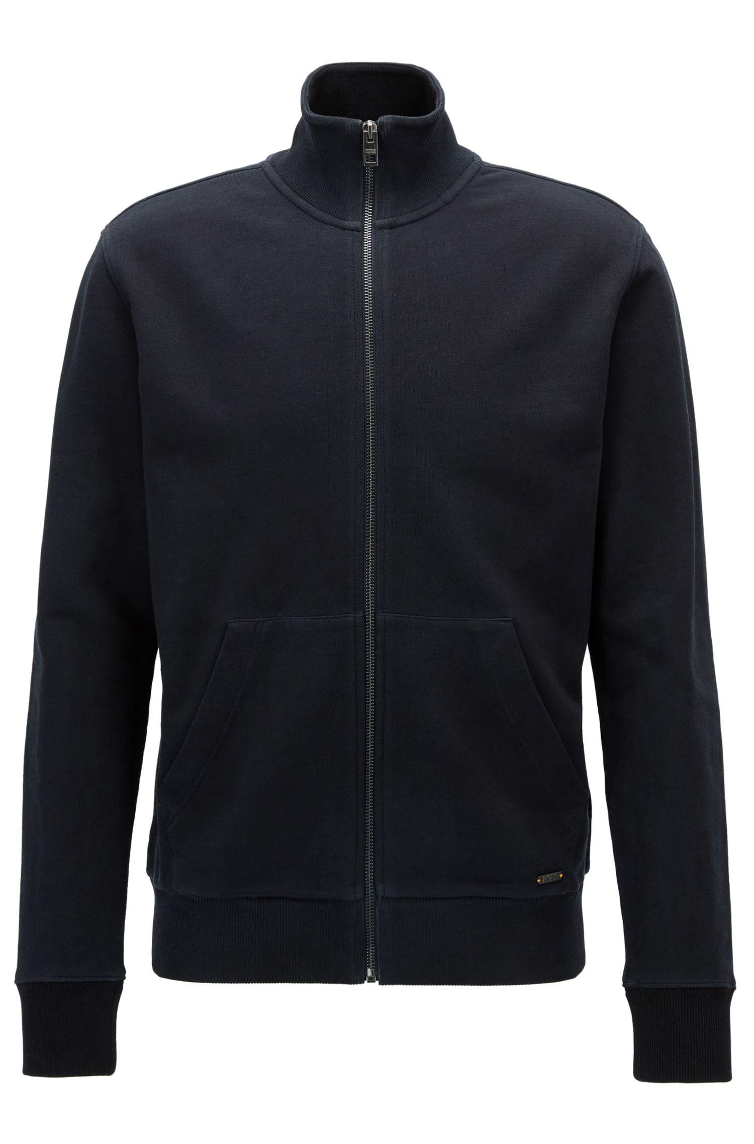 Regular-fit zip-through jacket in pure cotton