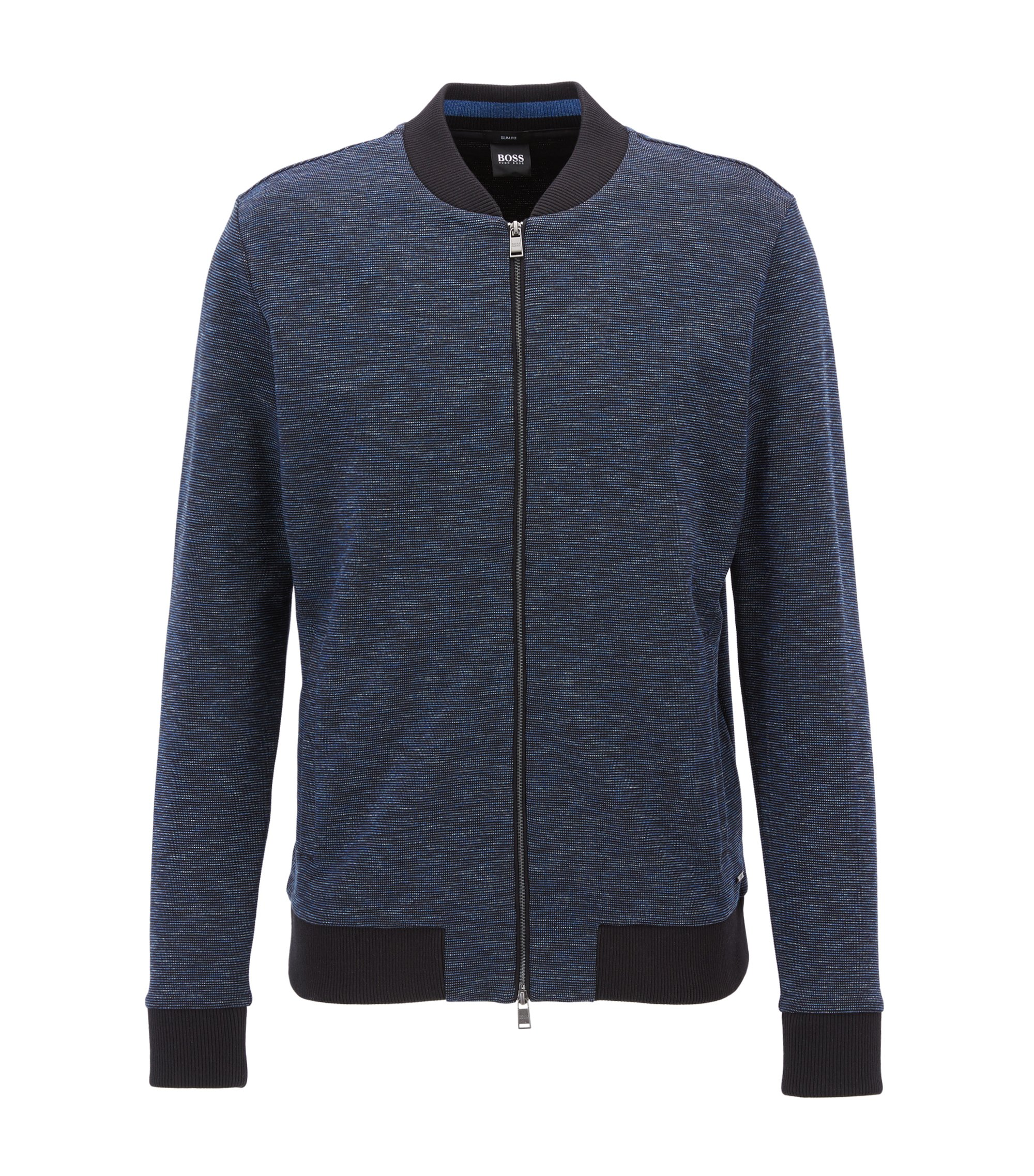 Bomber-style zip-through sweatshirt in cotton, Dark Blue
