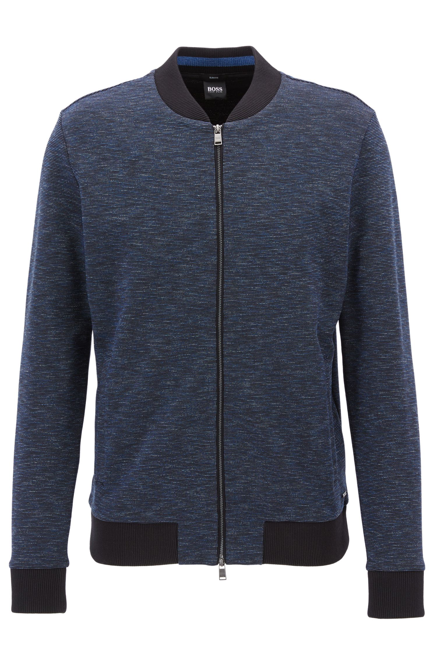 Bomber-style zip-through sweatshirt in cotton